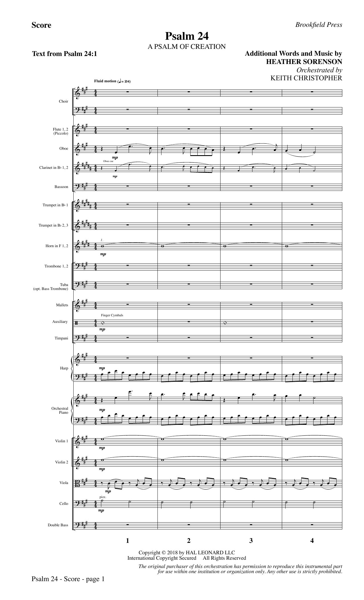 Psalm 24 - Full Score (Choir Instrumental Pak)