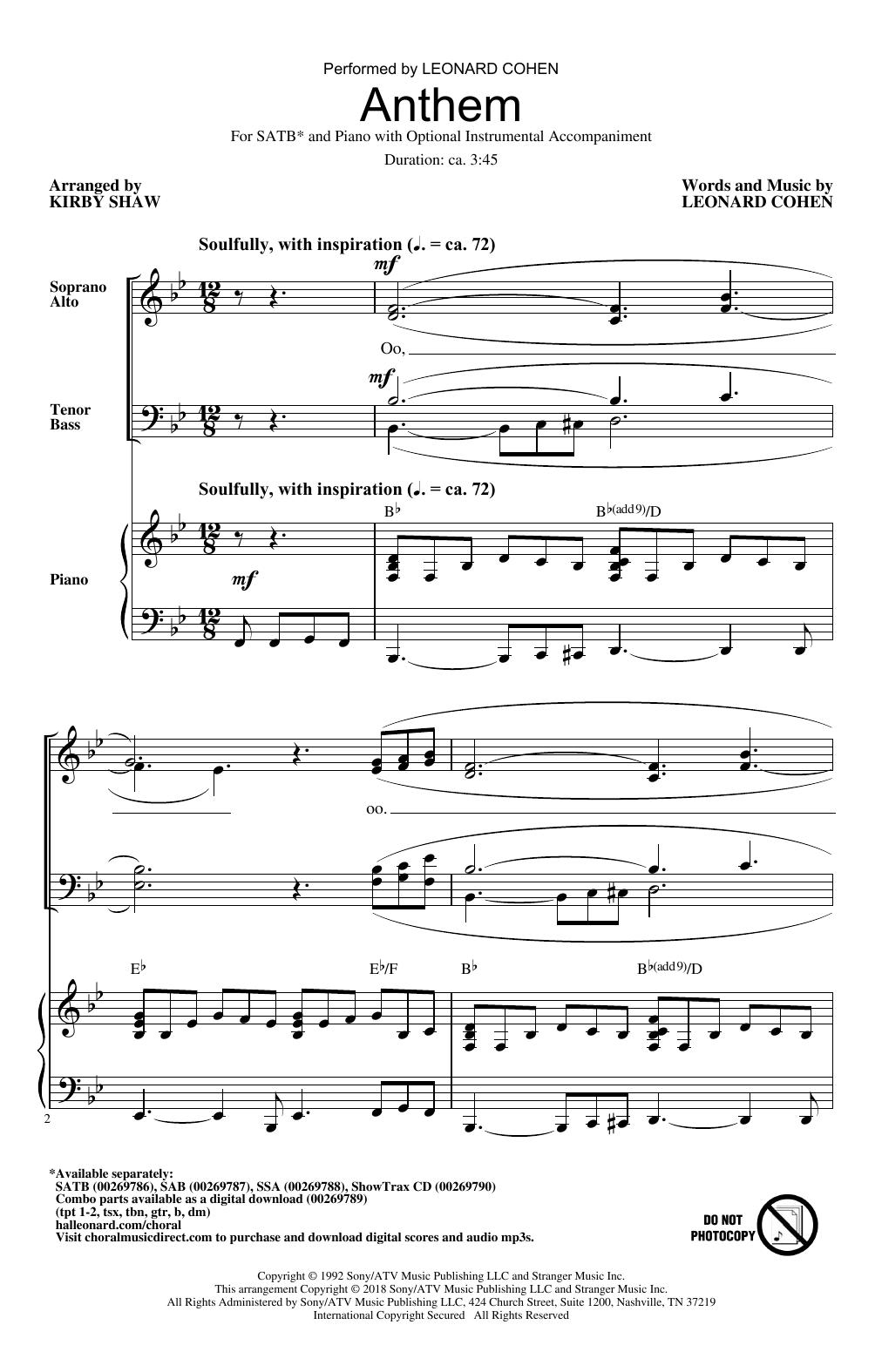 Anthem (arr. Kirby Shaw) Sheet Music