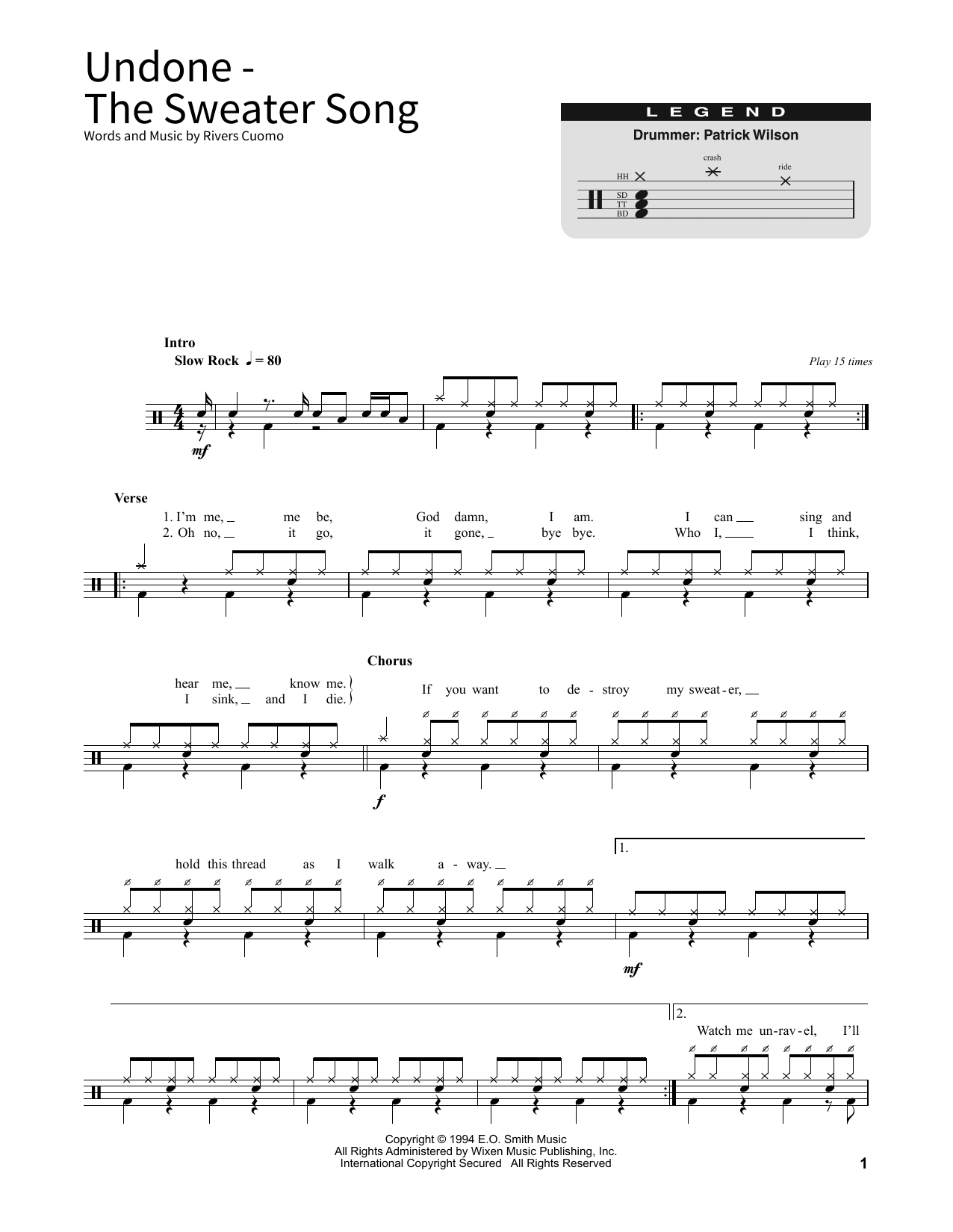Undone - The Sweater Song Sheet Music