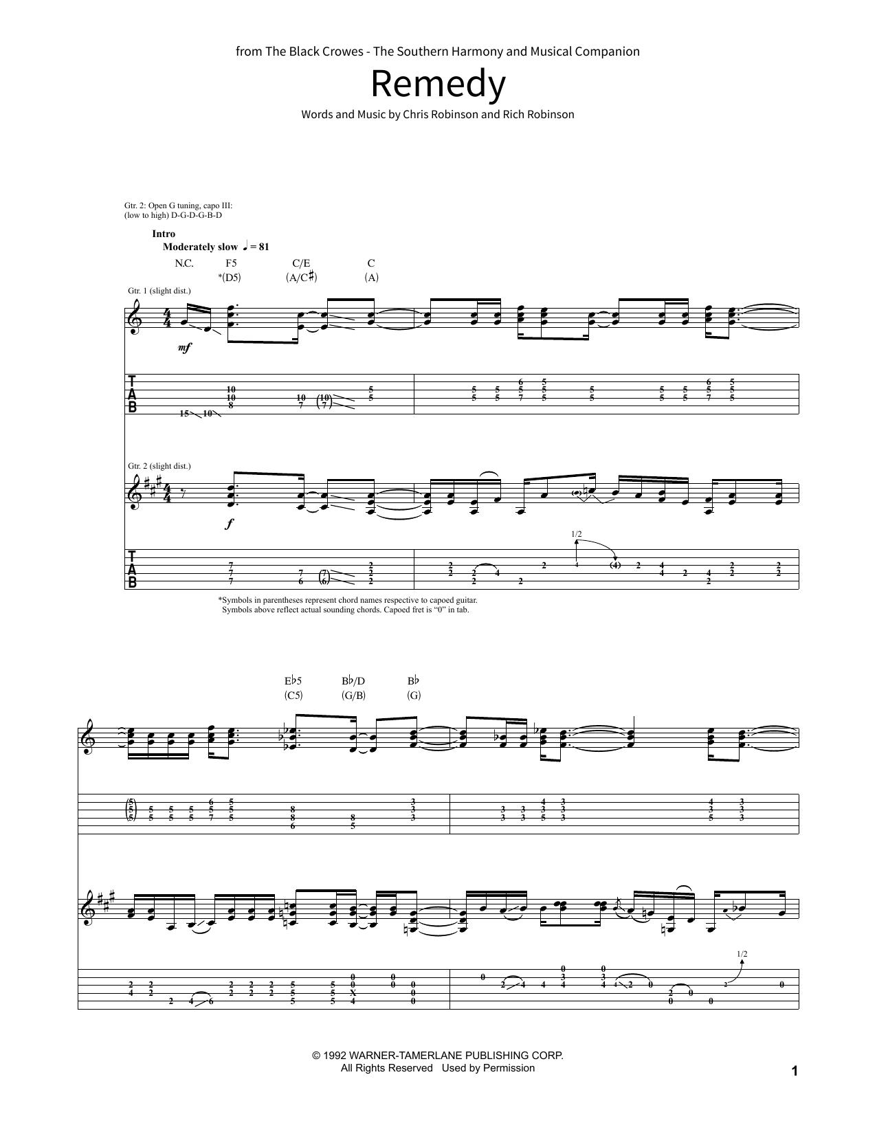 Remedy By Black Crowes School Of Rock Guitar Tab Digital Sheet Music