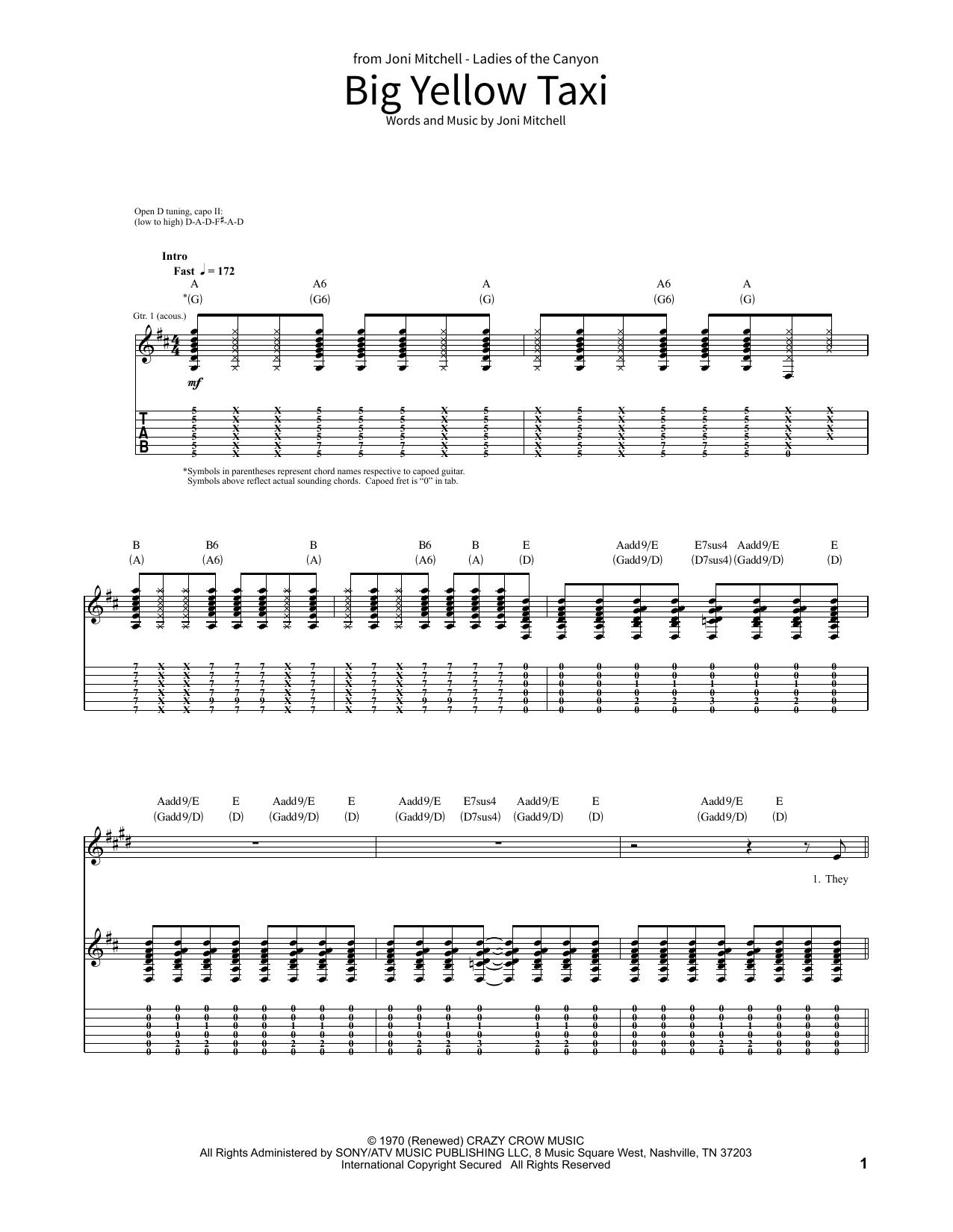 Big Yellow Taxi Sheet Music Joni Mitchell School Of Rock