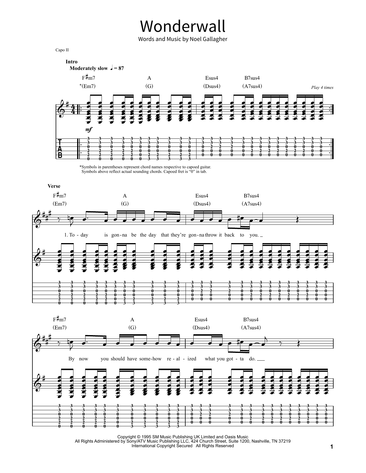 Wonderwall by Oasis Piano, Vocal & Guitar (Right-Hand Melody) Digital Sheet  Music