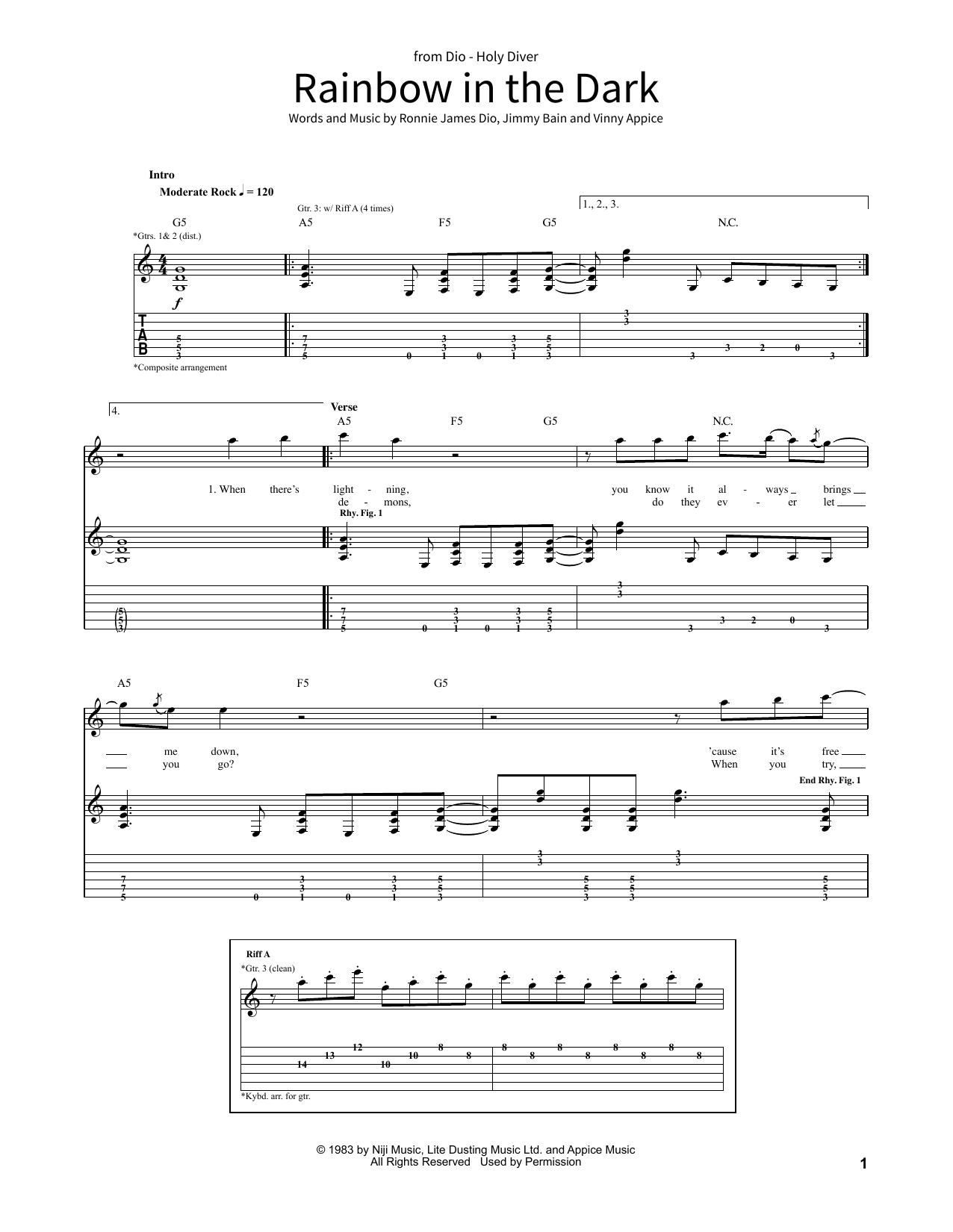 Rainbow In The Dark (School of Rock – Guitar Tab)