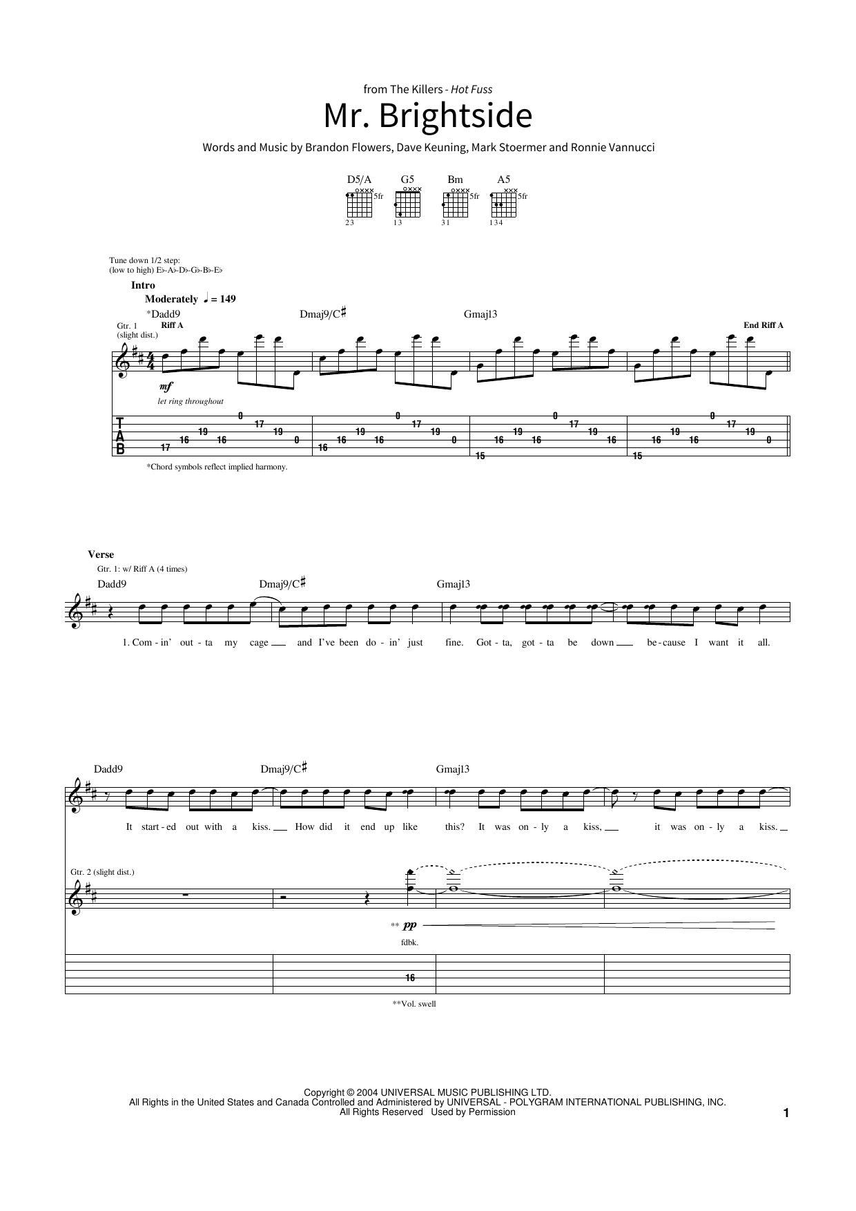 Mr Brightside Sheet Music The Killers School Of Rock Guitar Tab