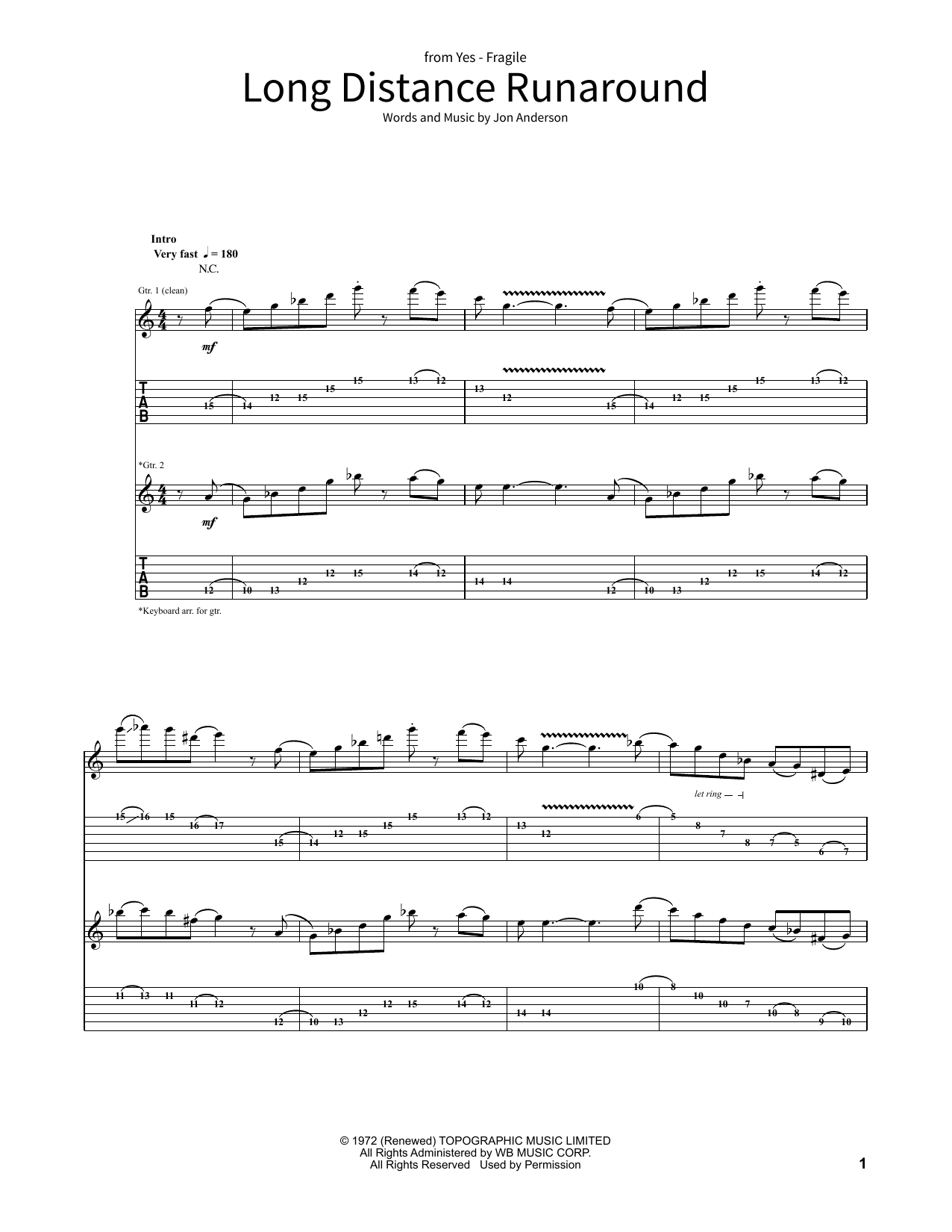 Long Distance Runaround (School of Rock – Guitar Tab)