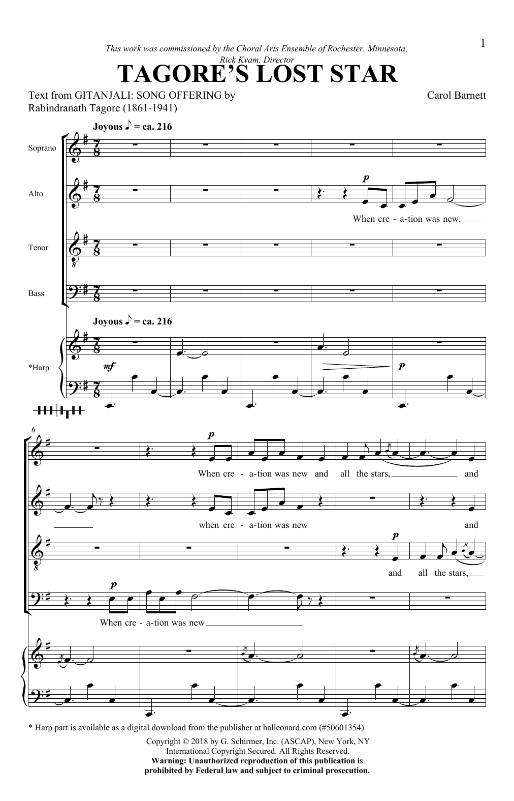 Tagore's Lost Star Sheet Music