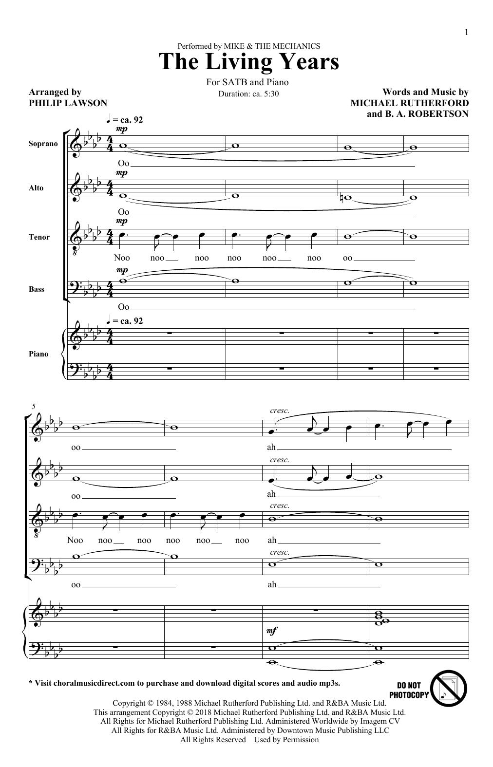 The Living Years (arr. Philip Lawson) (SATB Choir)