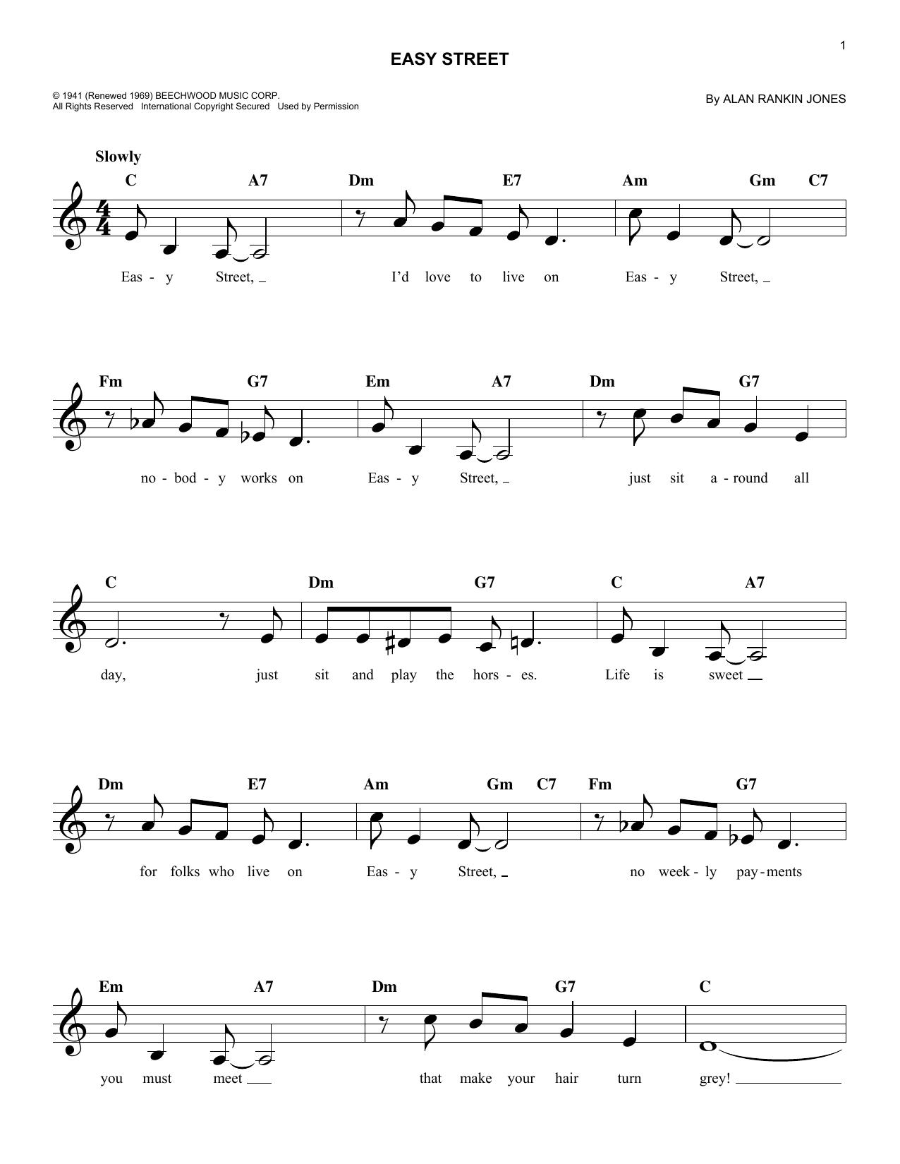 Easy Street (Melody Line, Lyrics & Chords)