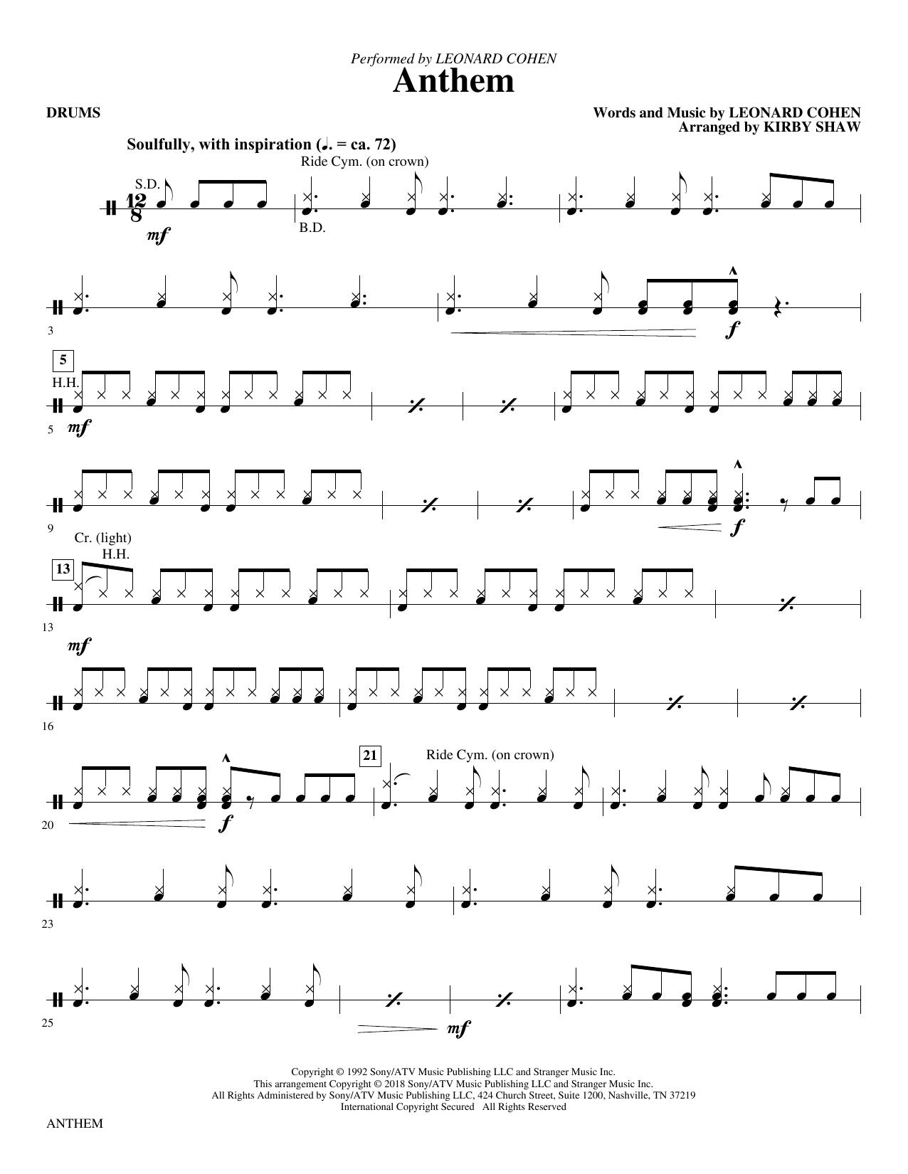 Anthem - Drums (Choir Instrumental Pak)