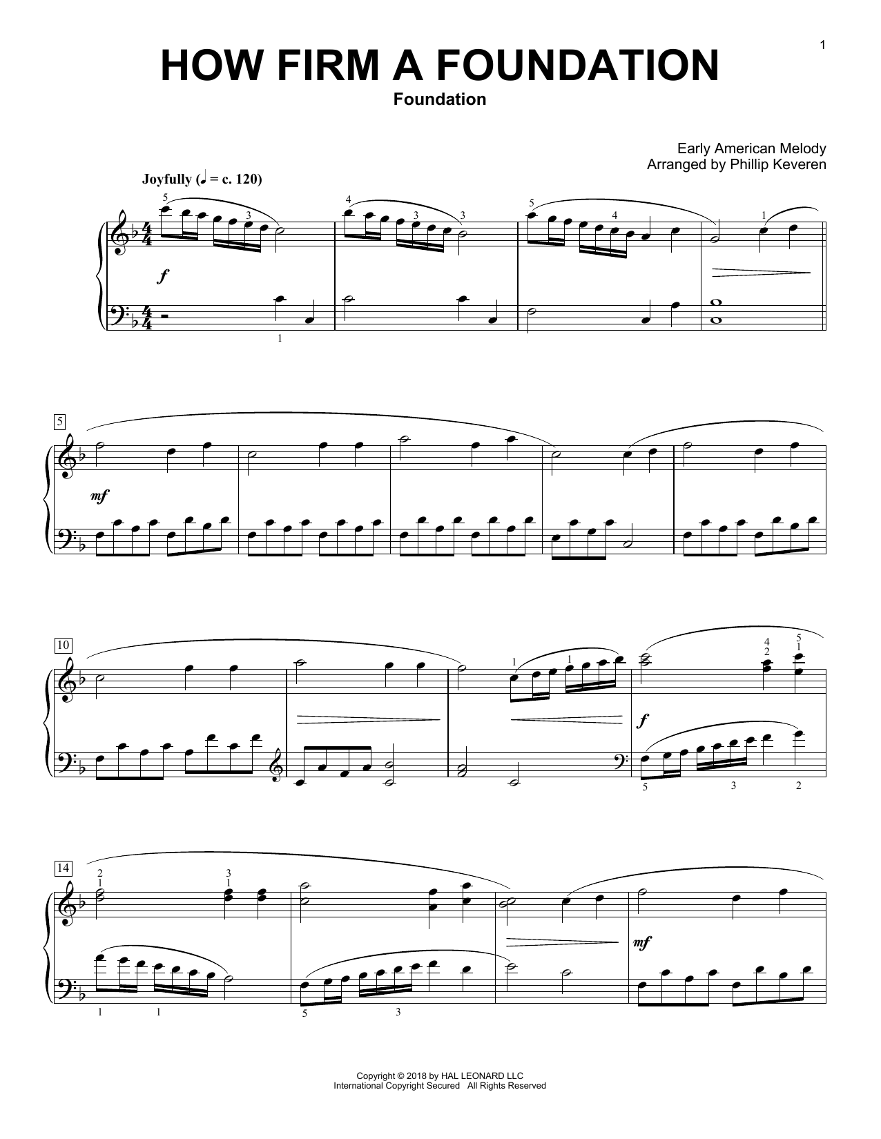 How Firm a Foundation [Classical version] (arr. Phillip Keveren) (Piano Solo)