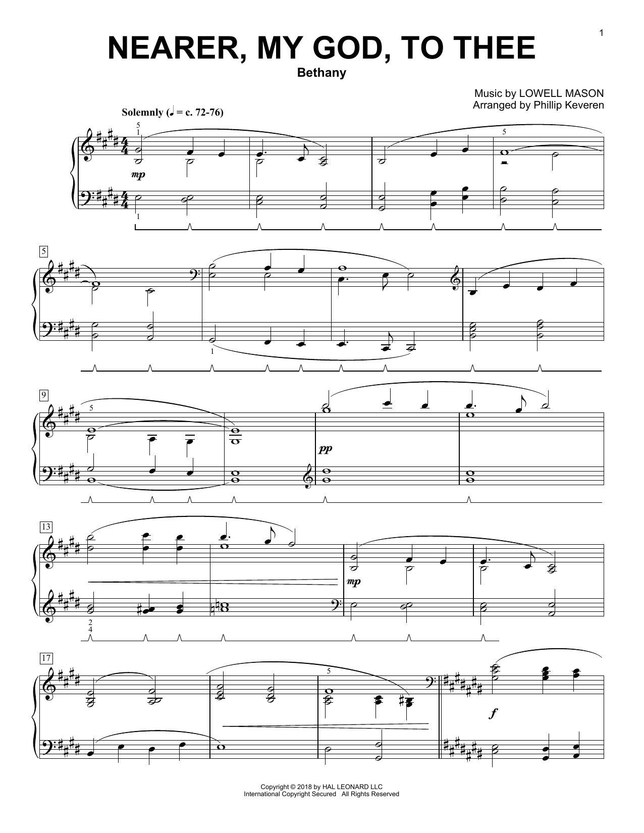 Nearer, My God, To Thee [Classical version] (arr. Phillip Keveren) (Piano Solo)