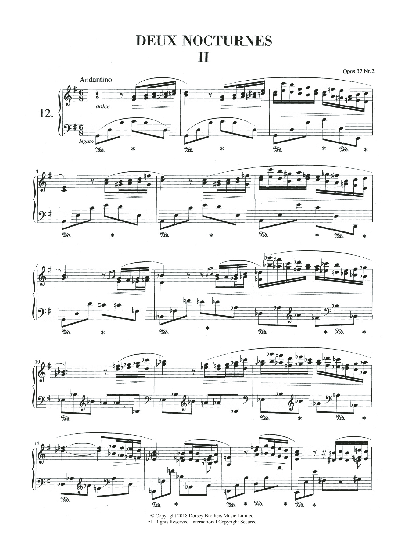 Nocturne in G Major, Op.37, No.2 Sheet Music