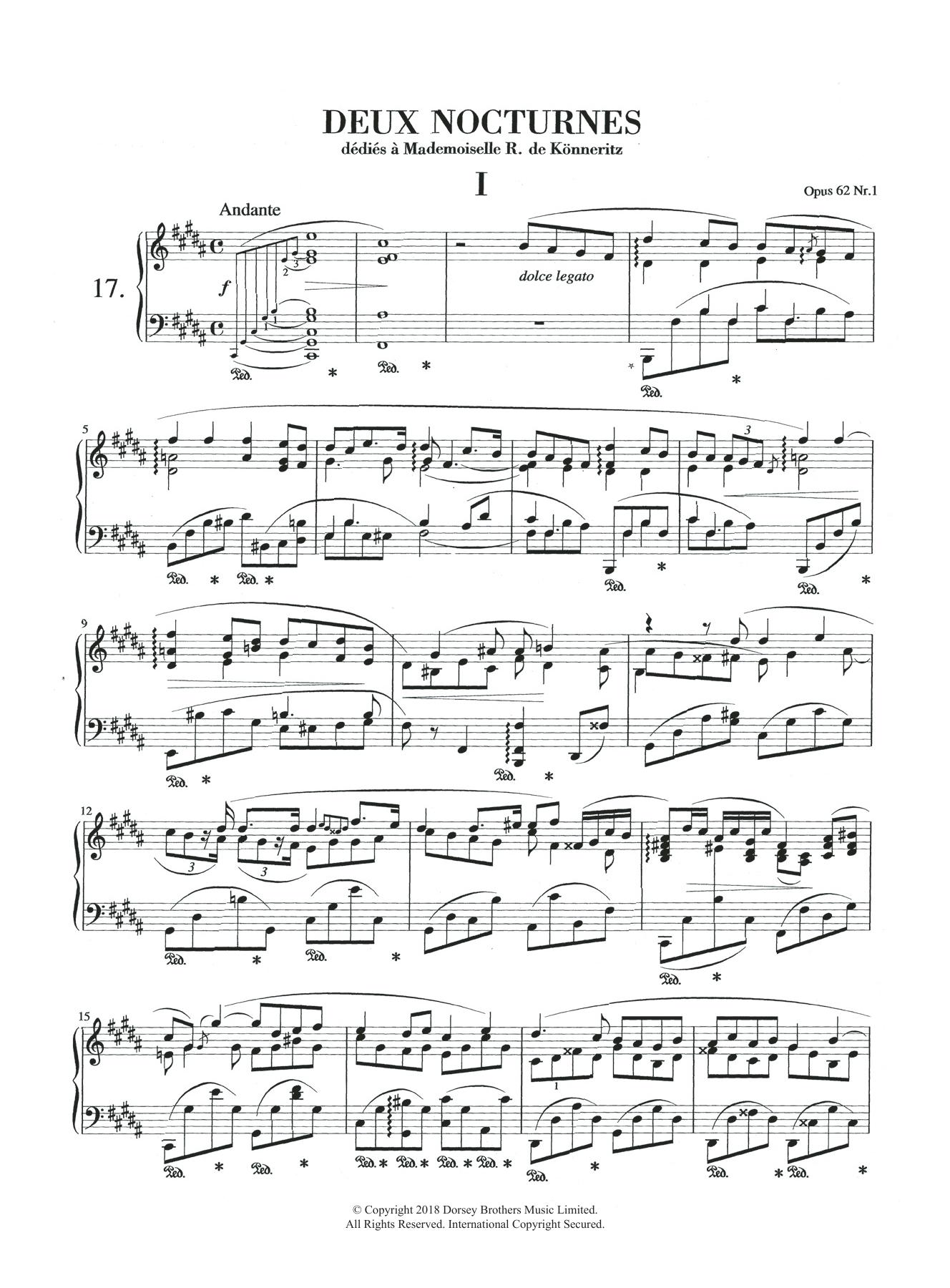 Nocturne in B Major, Op.62, No.1 Sheet Music