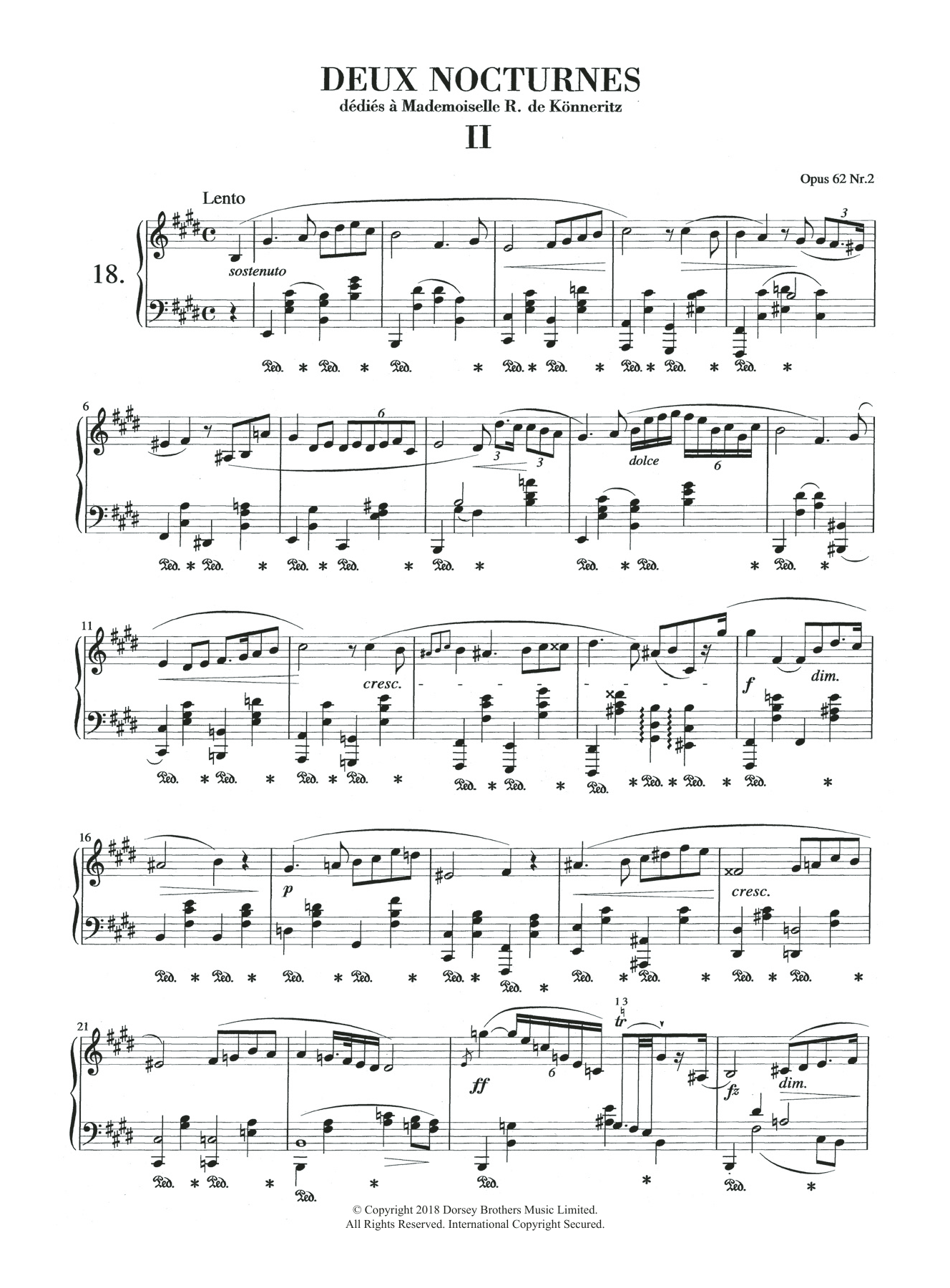 Nocturne in E Major, Op.62, No.2 Sheet Music