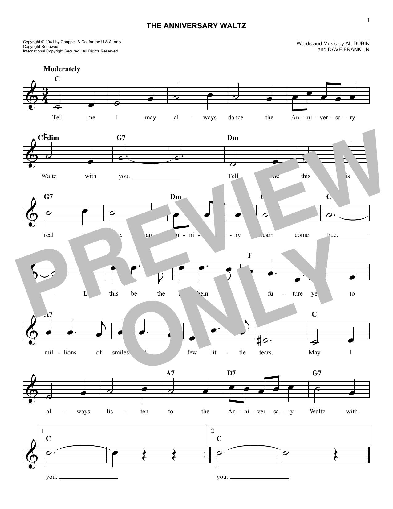The Anniversary Waltz (Lead Sheet / Fake Book)