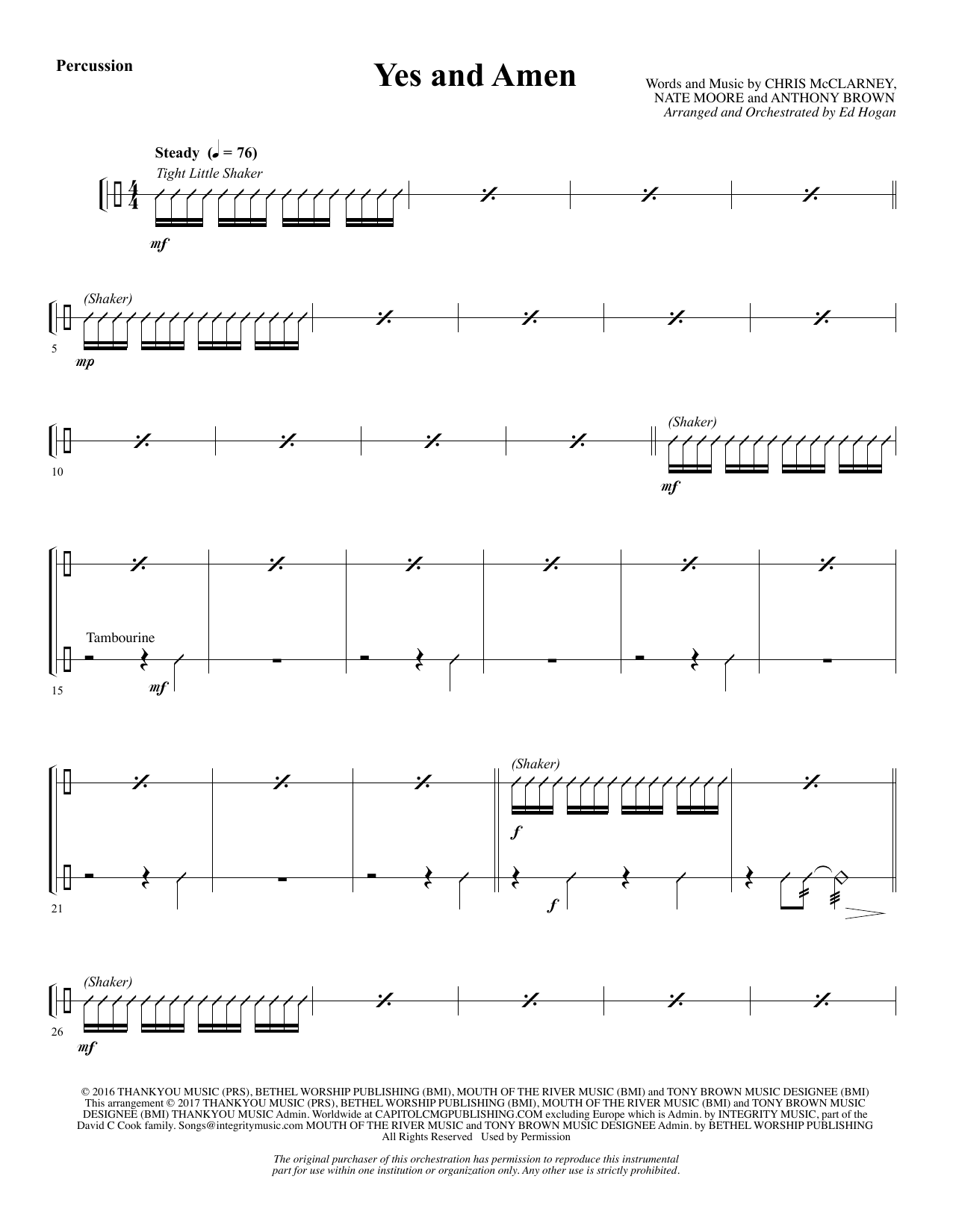 Yes and Amen - Percussion (Choir Instrumental Pak)