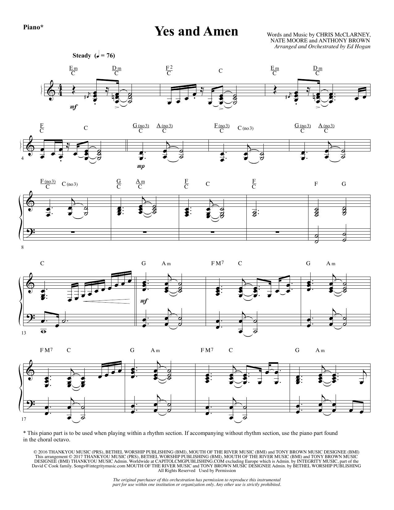 Yes and Amen - Piano (Choir Instrumental Pak)