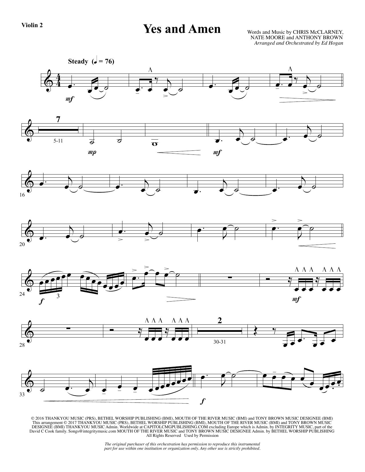 Yes and Amen - Violin 2 (Choir Instrumental Pak)