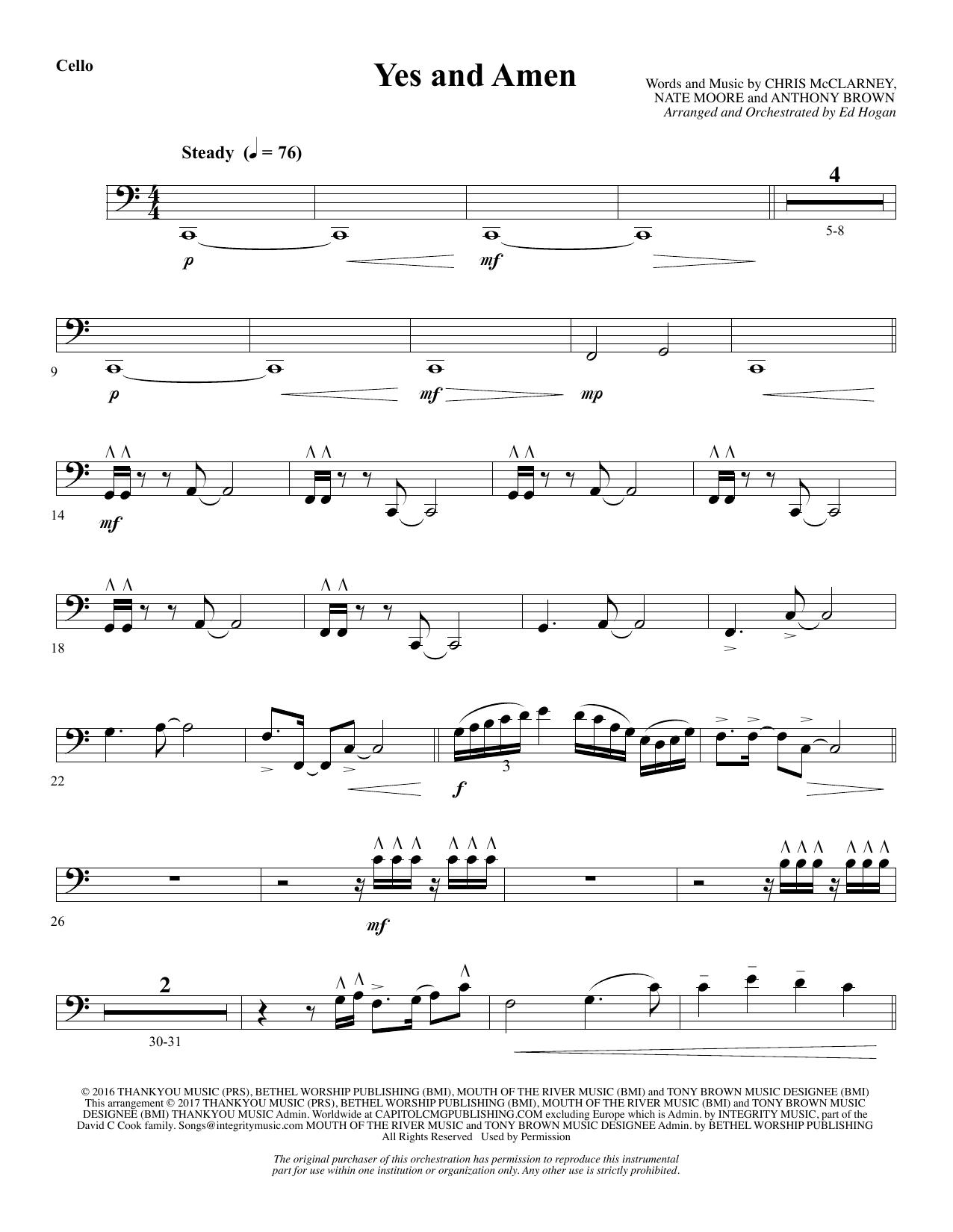 Yes and Amen - Cello (Choir Instrumental Pak)