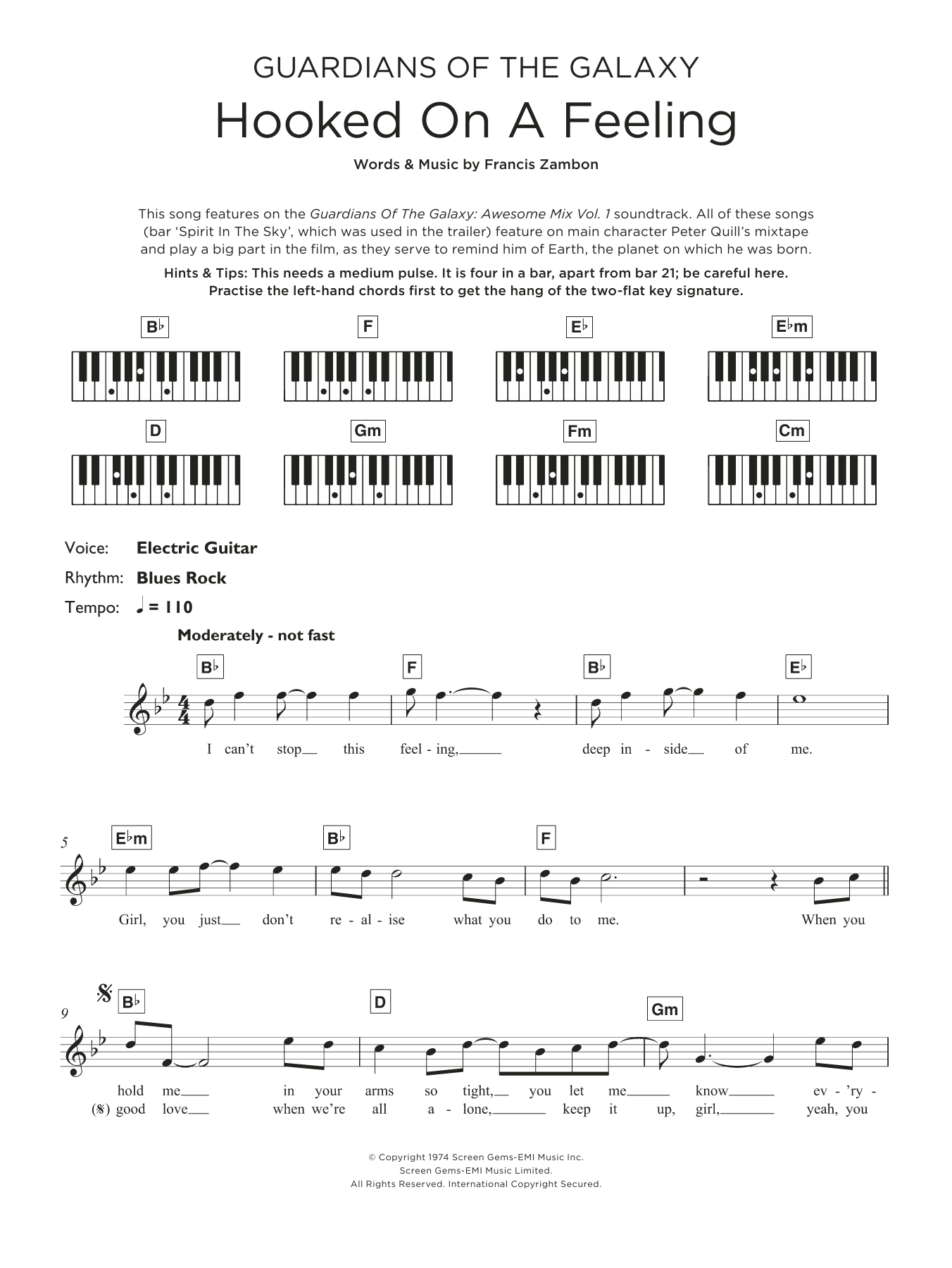 Hooked On A Feeling Sheet Music