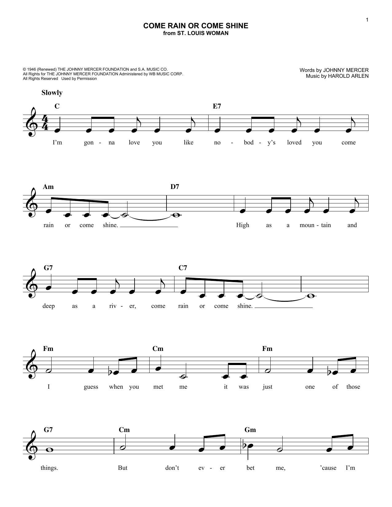 Come Rain Or Come Shine Sheet Music