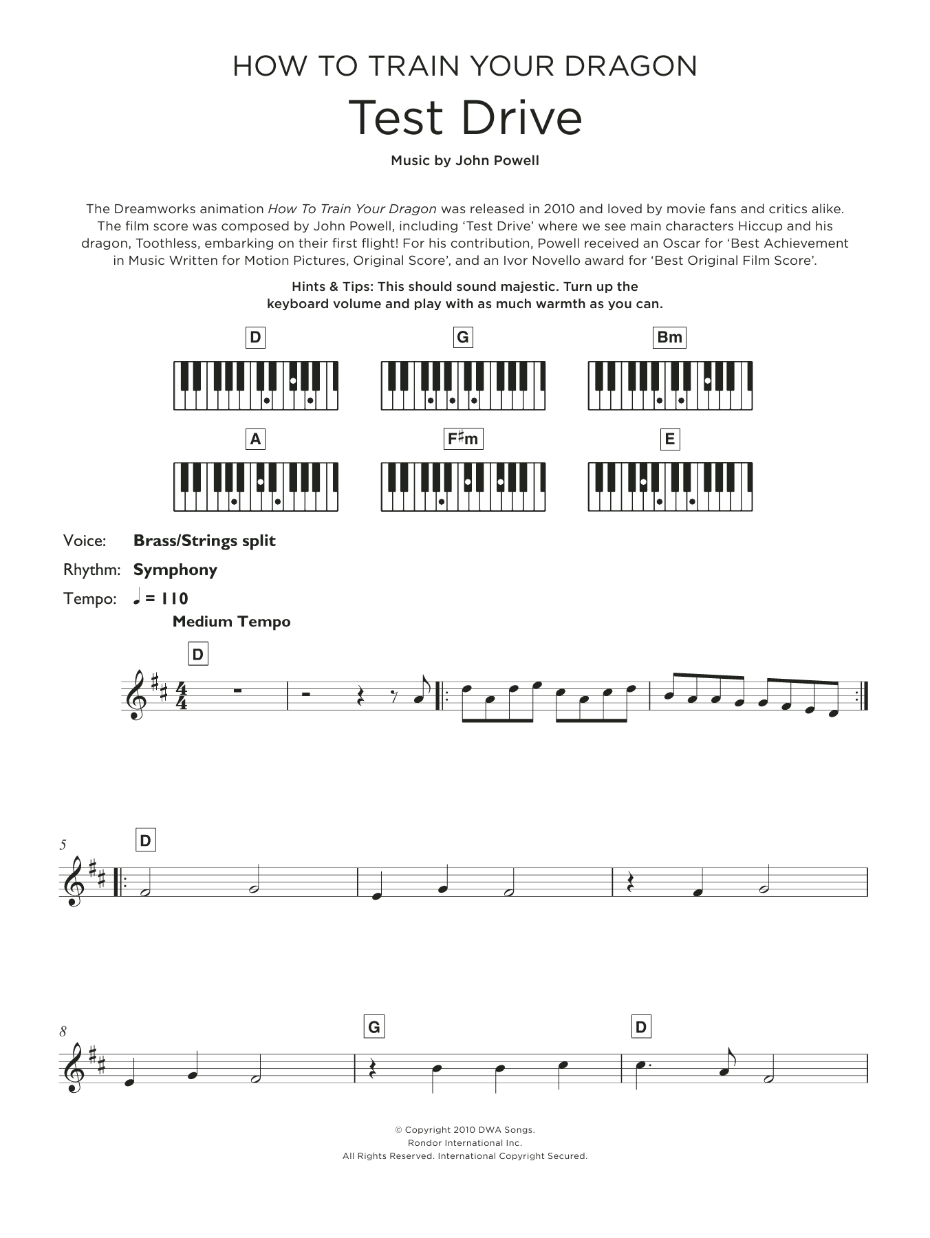 Test Drive (from How to Train Your Dragon) Sheet Music