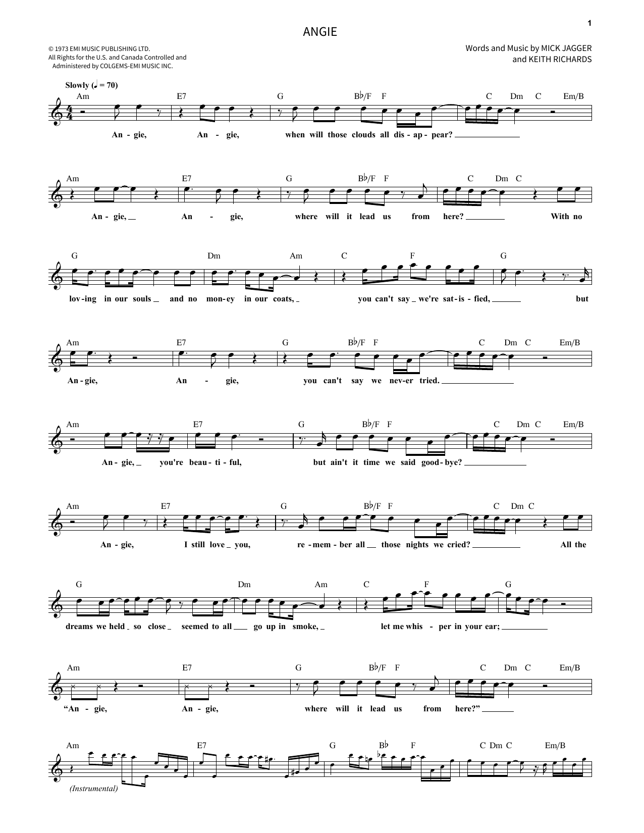 Angie Sheet Music