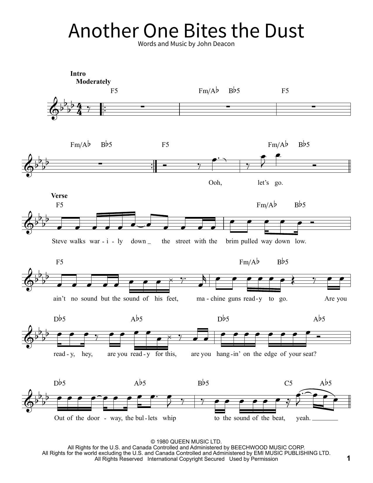 another one bites the dust sheet music free