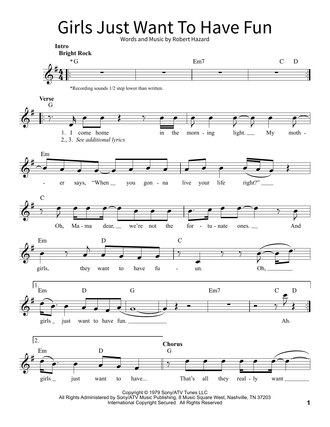 Girls Just Want To Have Fun Sheet Music