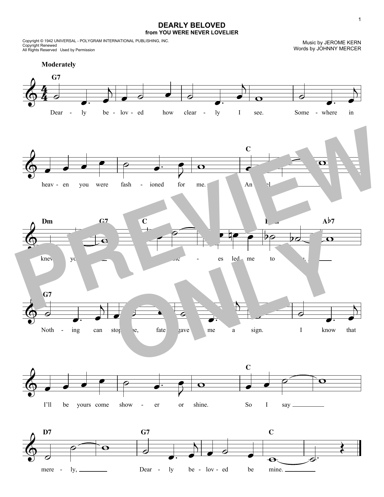 Dearly Beloved (Lead Sheet / Fake Book)