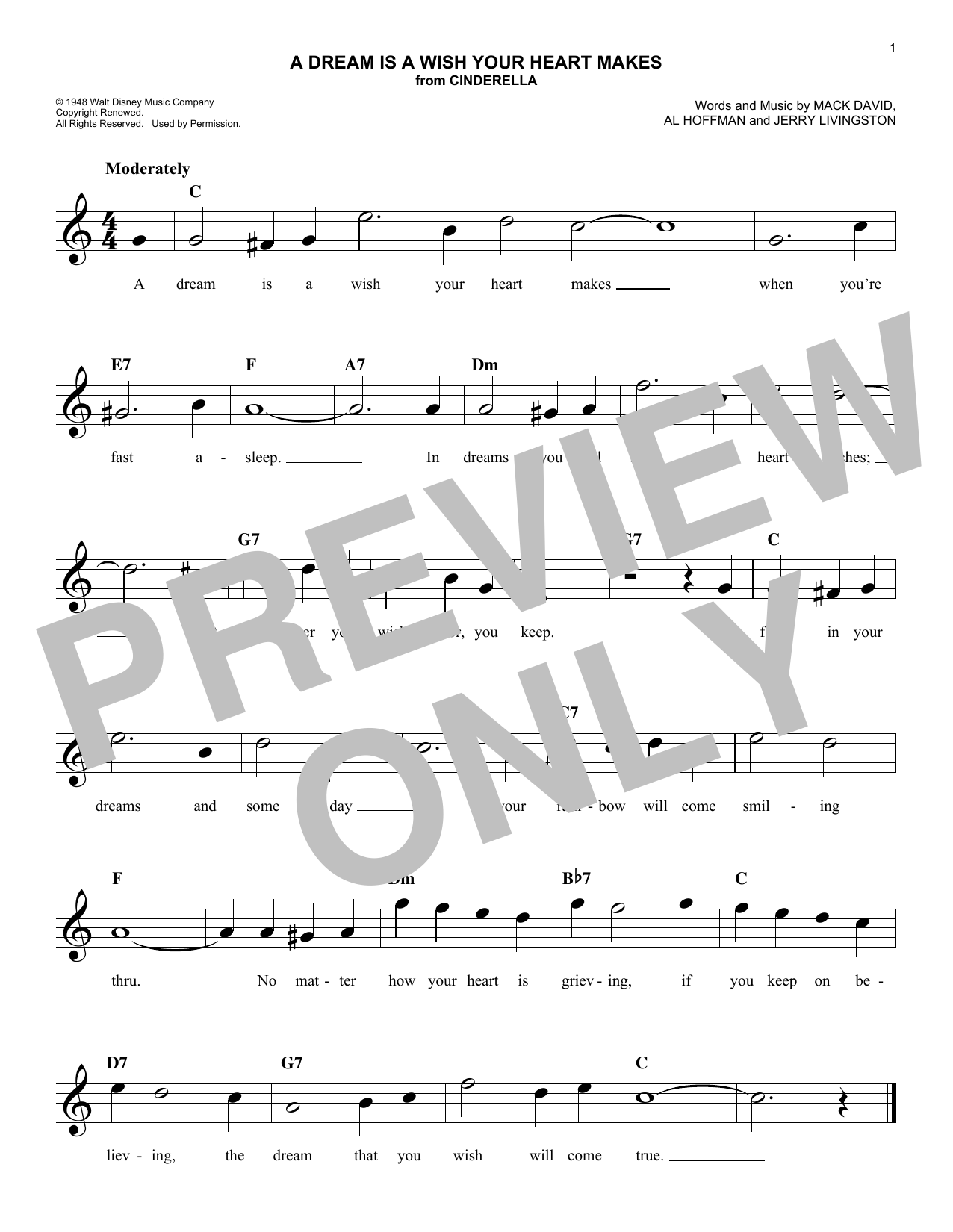 A Dream Is A Wish Your Heart Makes (Lead Sheet / Fake Book)