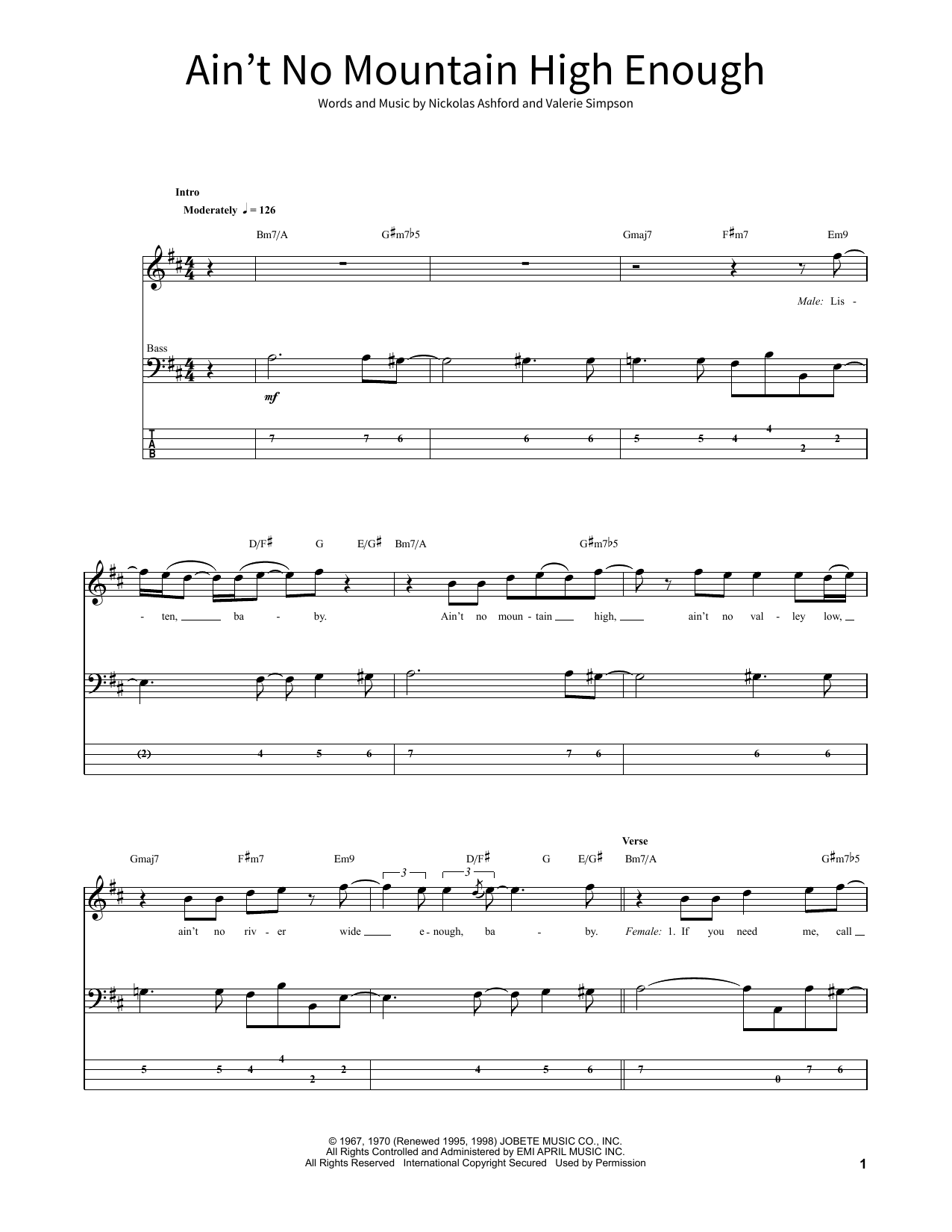 Aint No Mountain High Enough Sheet Music By Diana Ross School Of