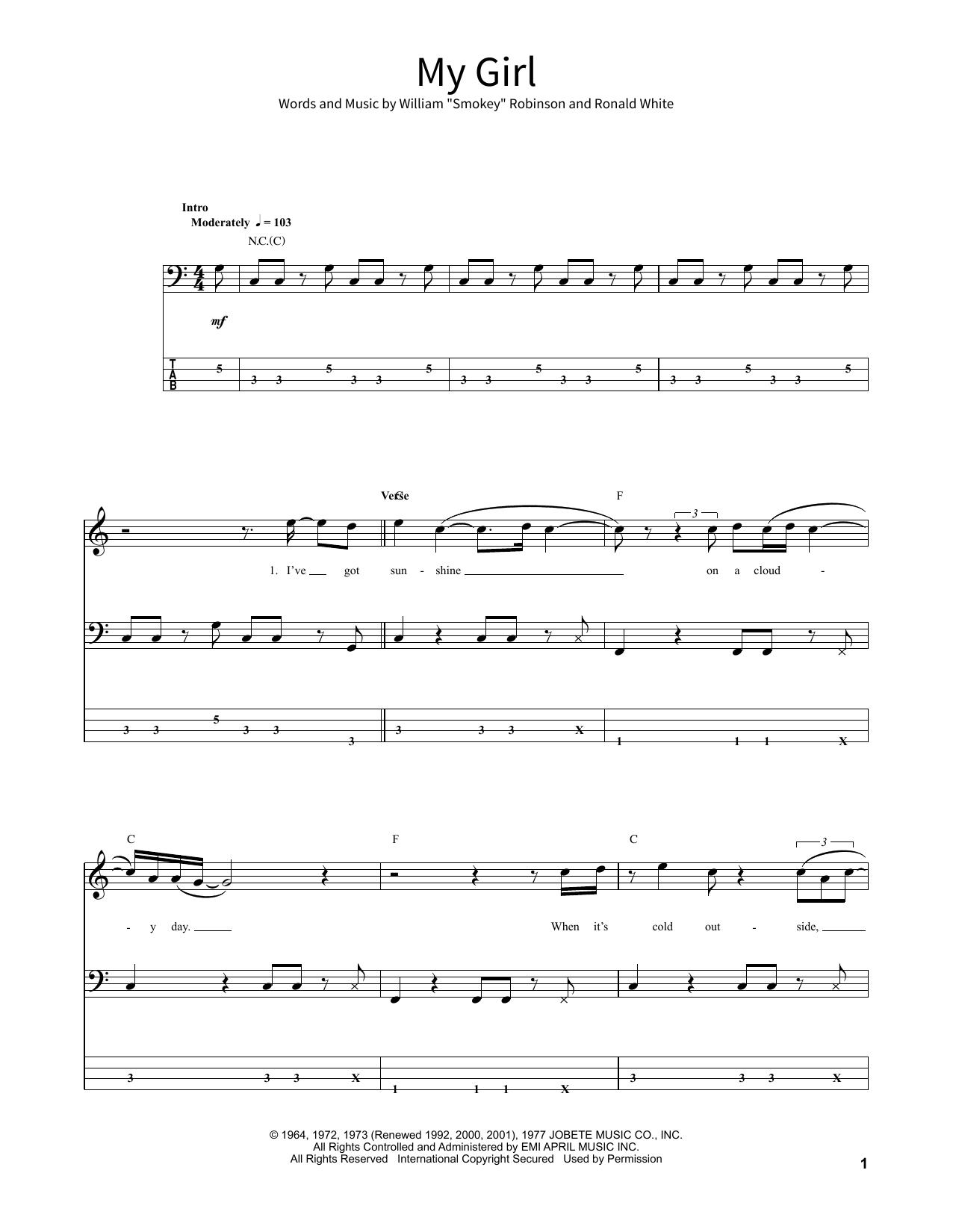 My Girl Sheet Music