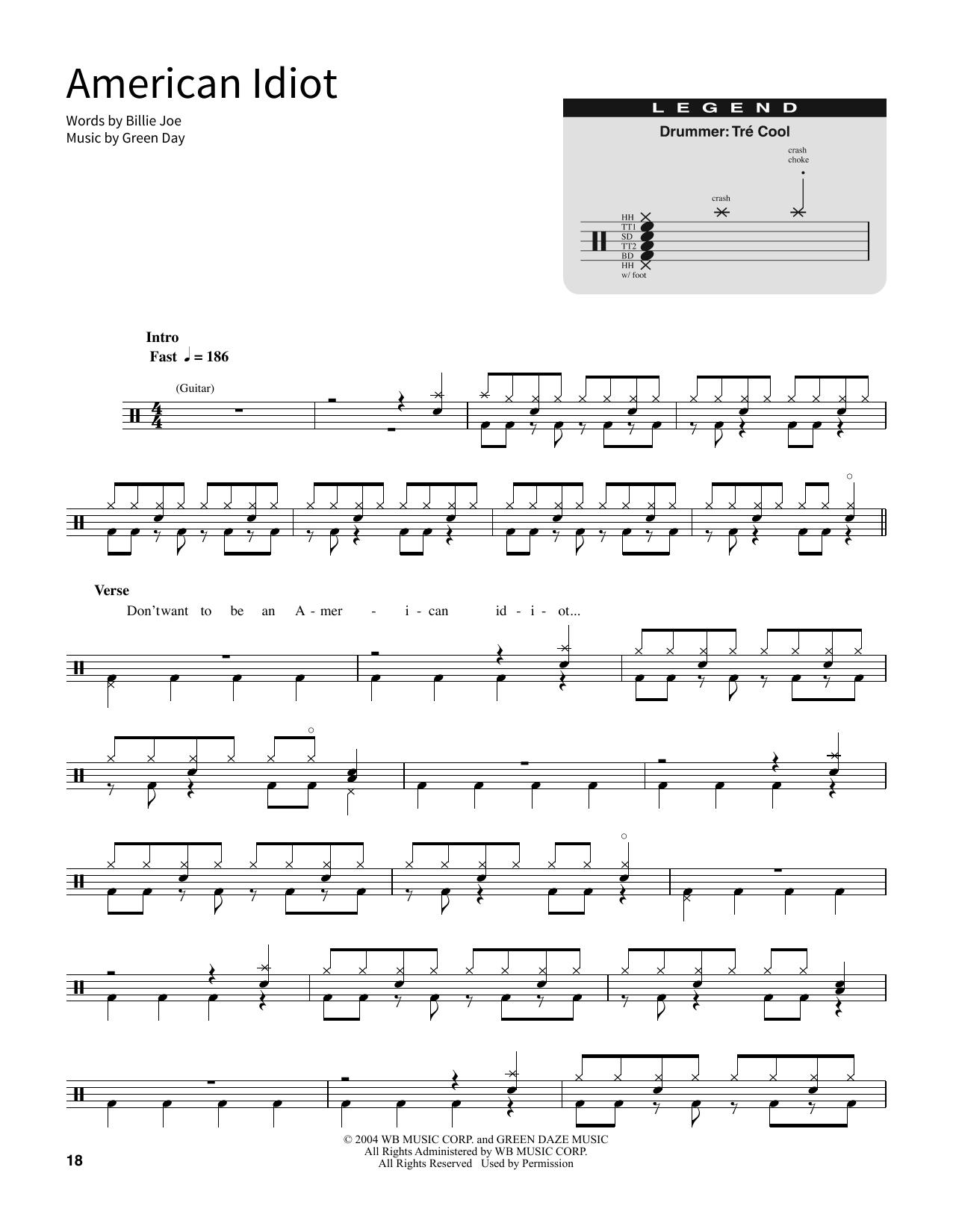 American Idiot Sheet Music Direct
