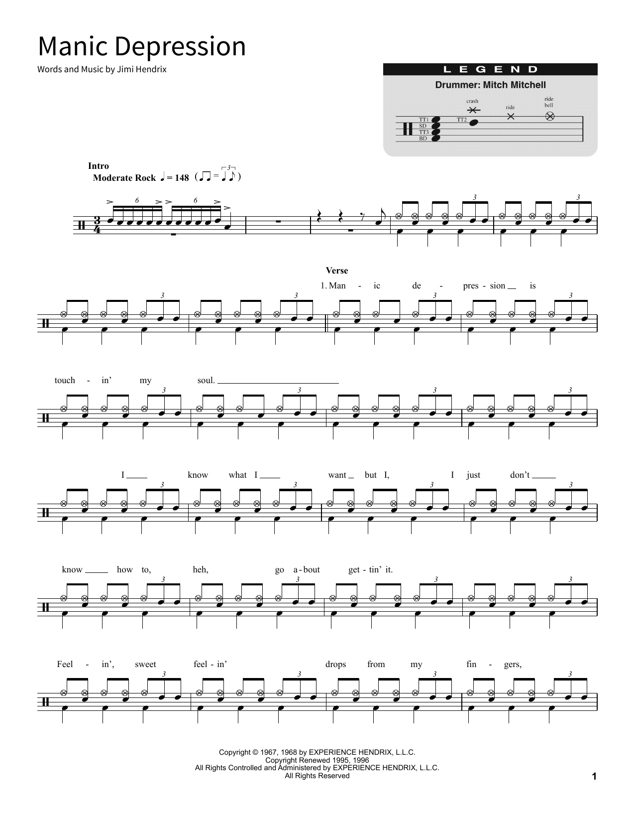 Manic Depression Sheet Music