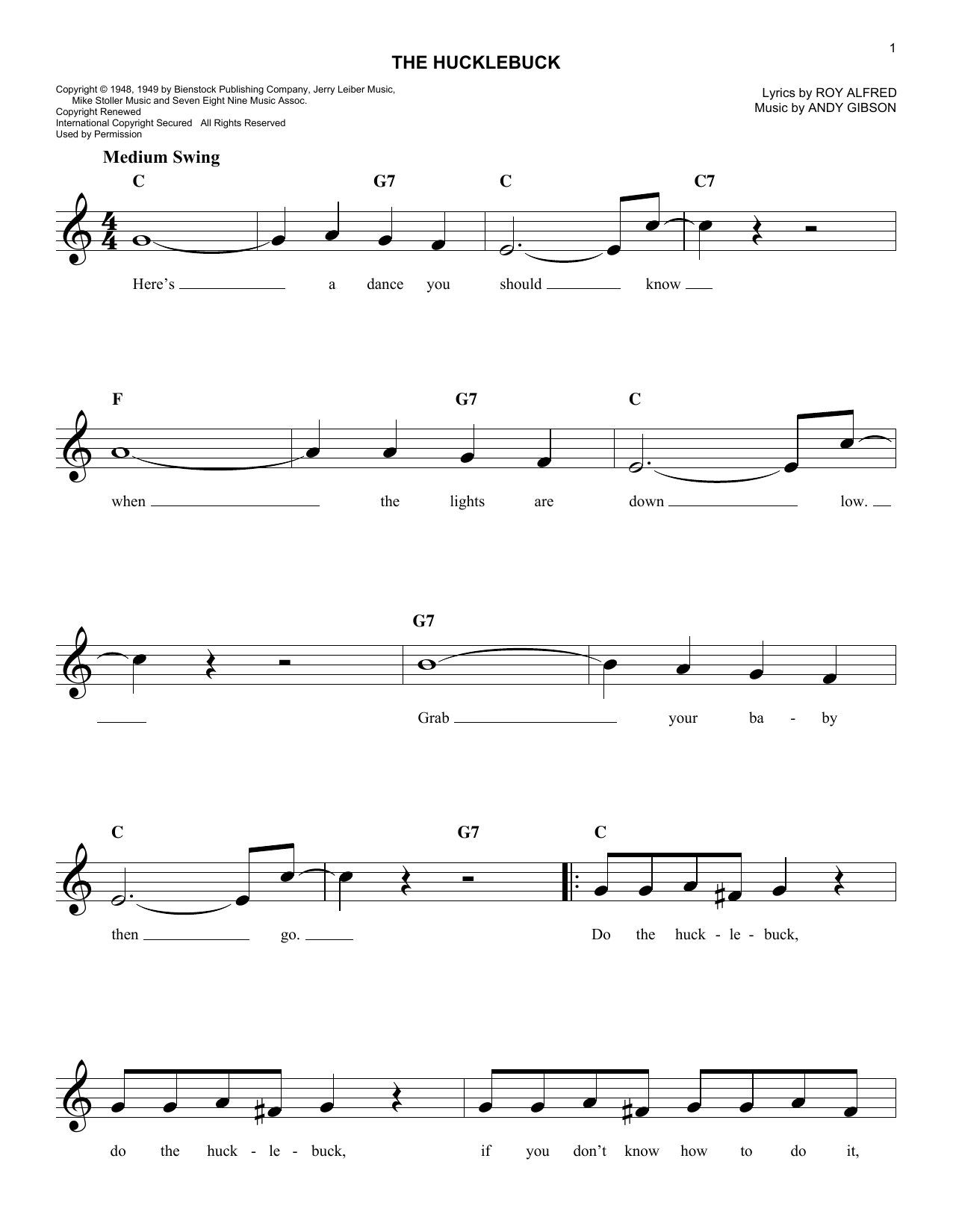 The Hucklebuck (Lead Sheet / Fake Book)