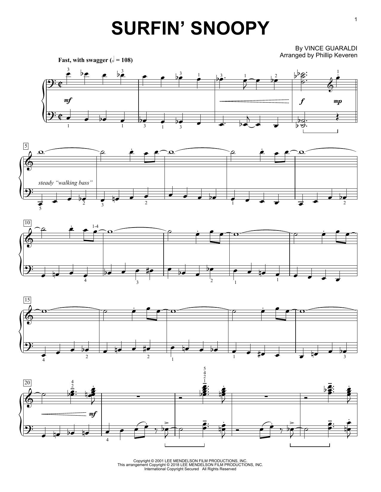 Surfin' Snoopy (arr. Phillip Keveren) (Piano Solo)