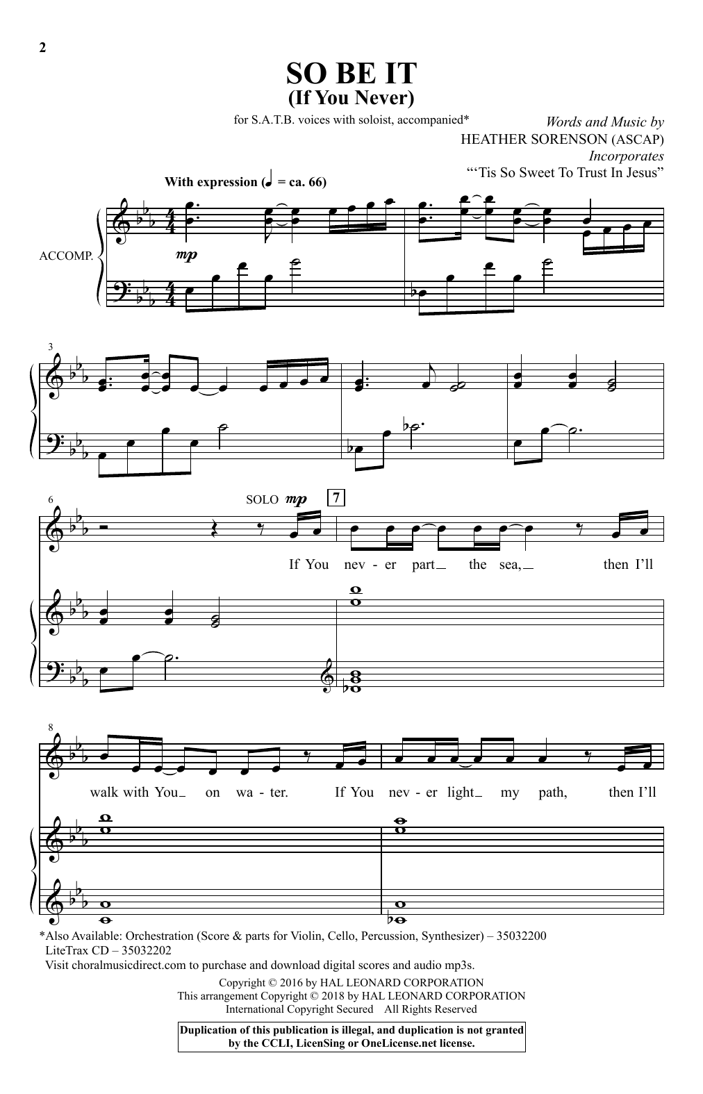 So Be It (If You Never) (SATB Choir)