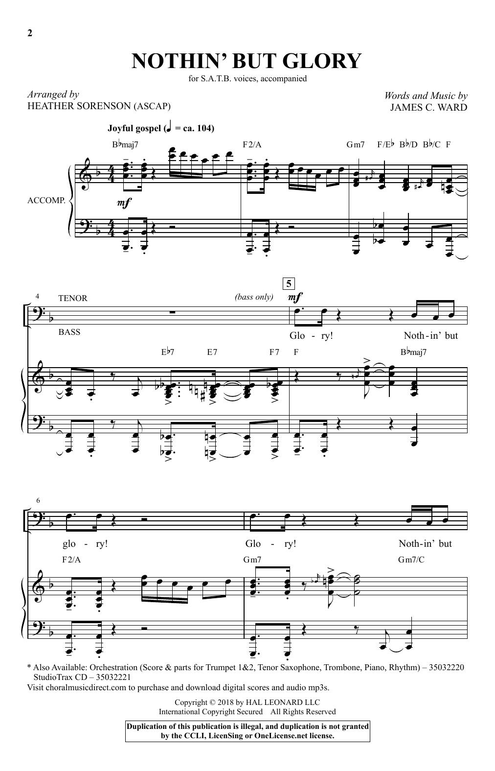 Nothin' But Glory (arr. Heather Sorenson) (SATB Choir)
