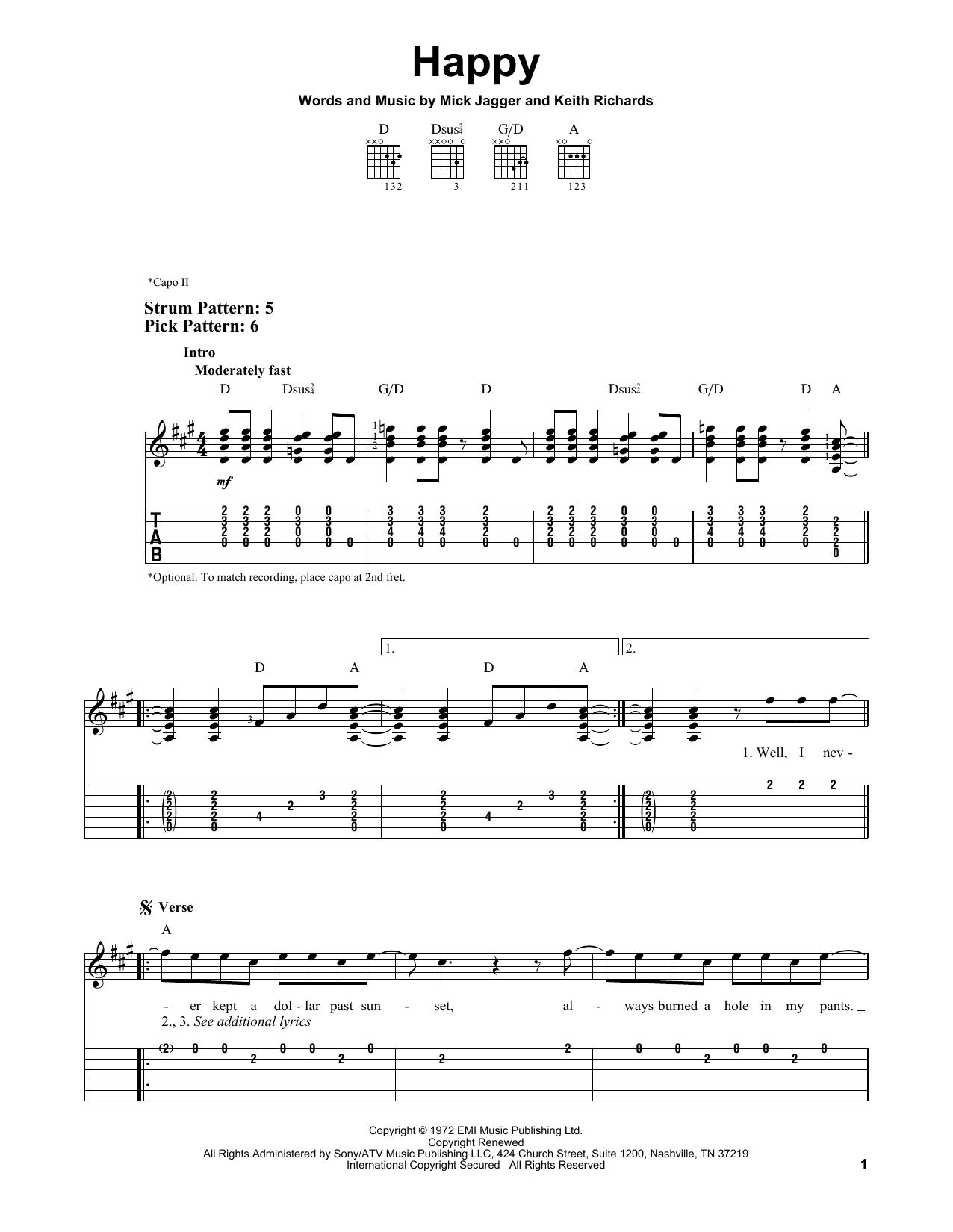 Happy (Easy Guitar Tab)