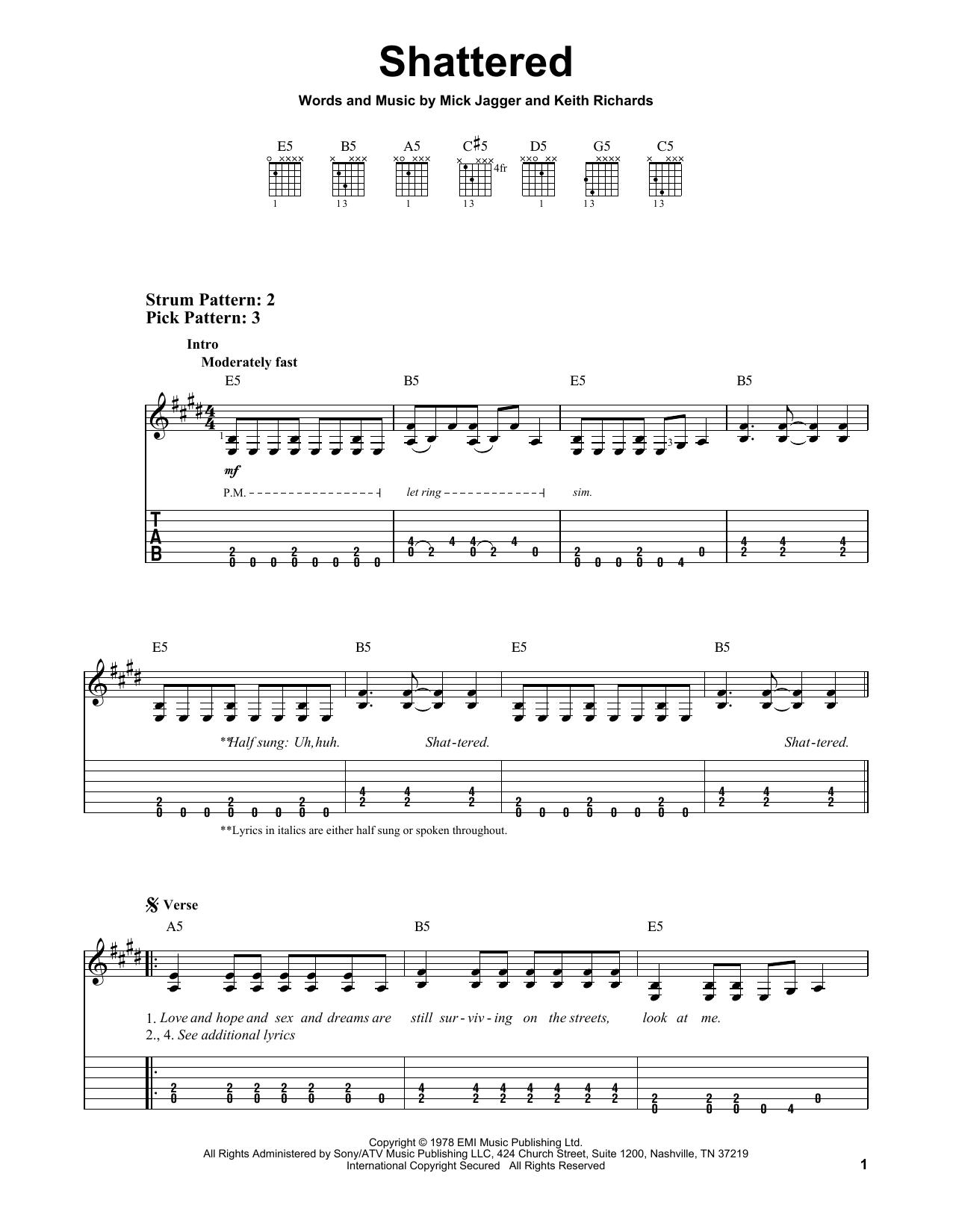 Shattered (Easy Guitar Tab)