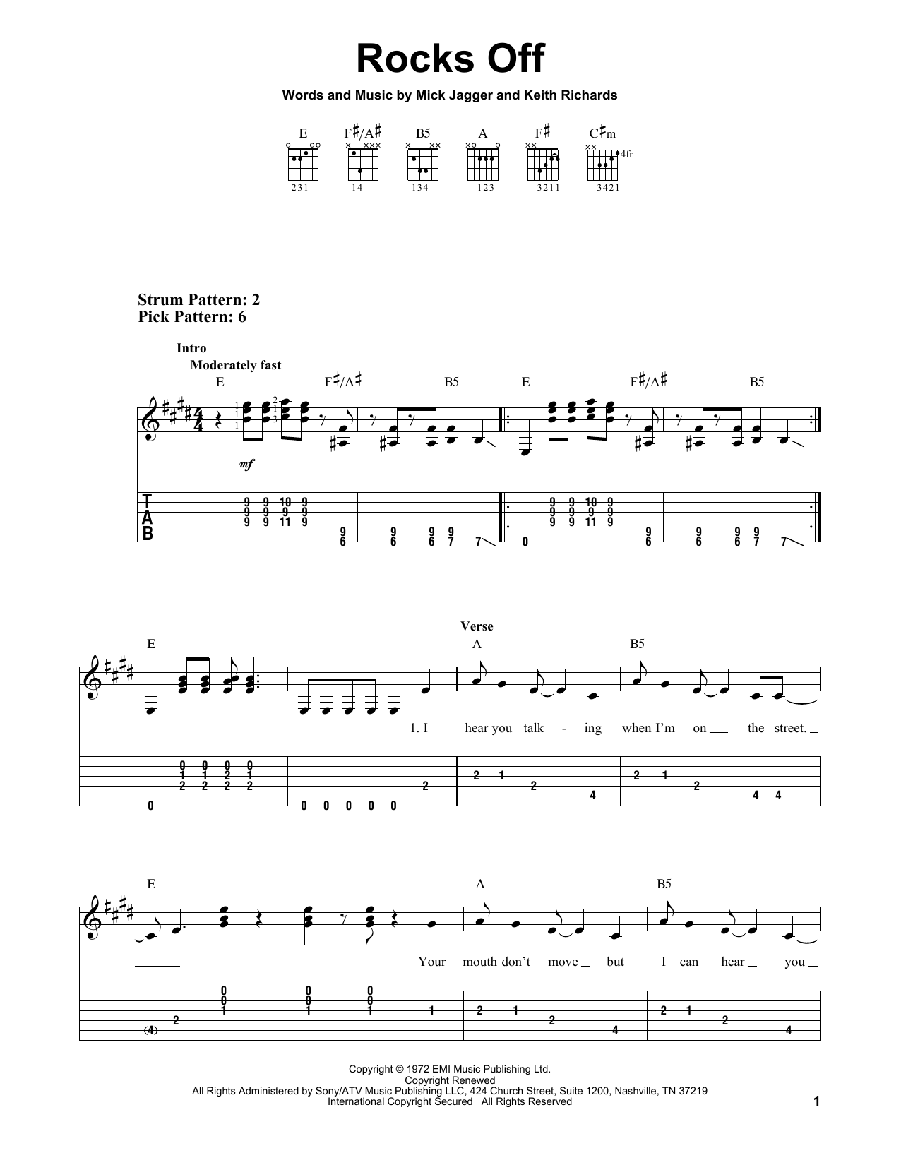Rocks Off (Easy Guitar Tab)