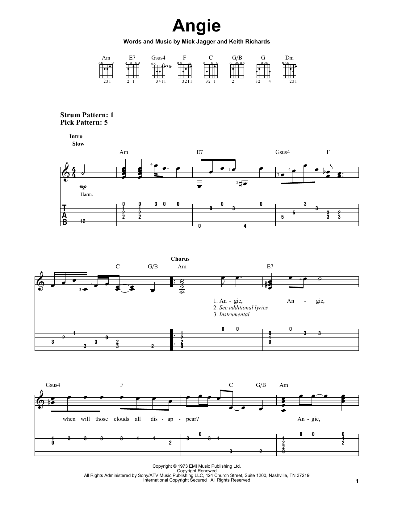 Angie (Easy Guitar Tab)