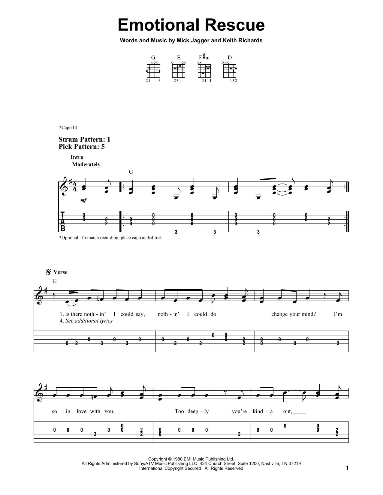 Emotional Rescue (Easy Guitar Tab)