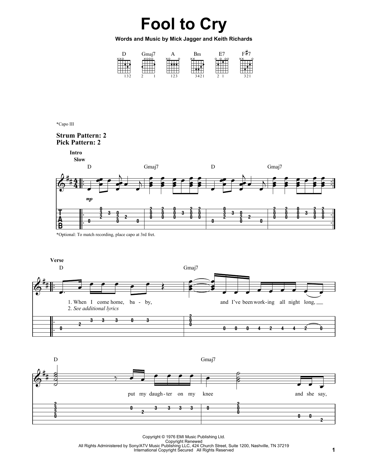 Fool To Cry (Easy Guitar Tab)