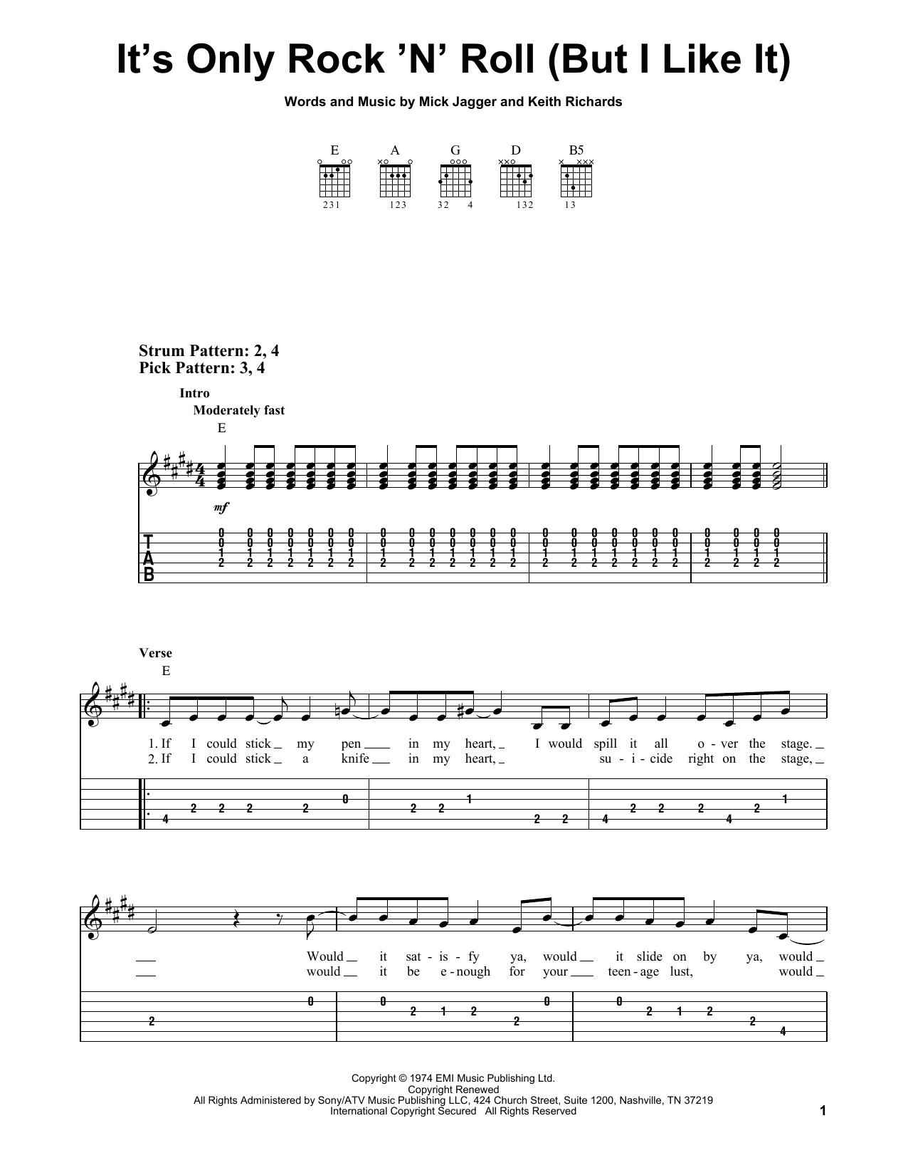 Easy Guitar Chords Rolling Stones