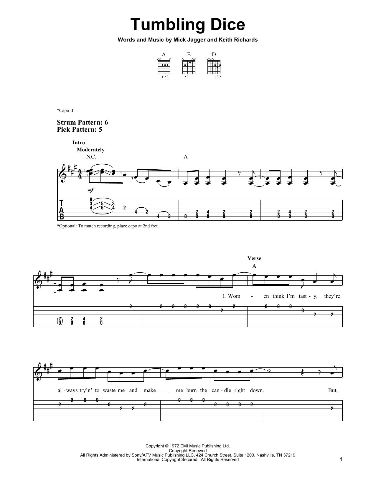 Tumbling Dice (Easy Guitar Tab)