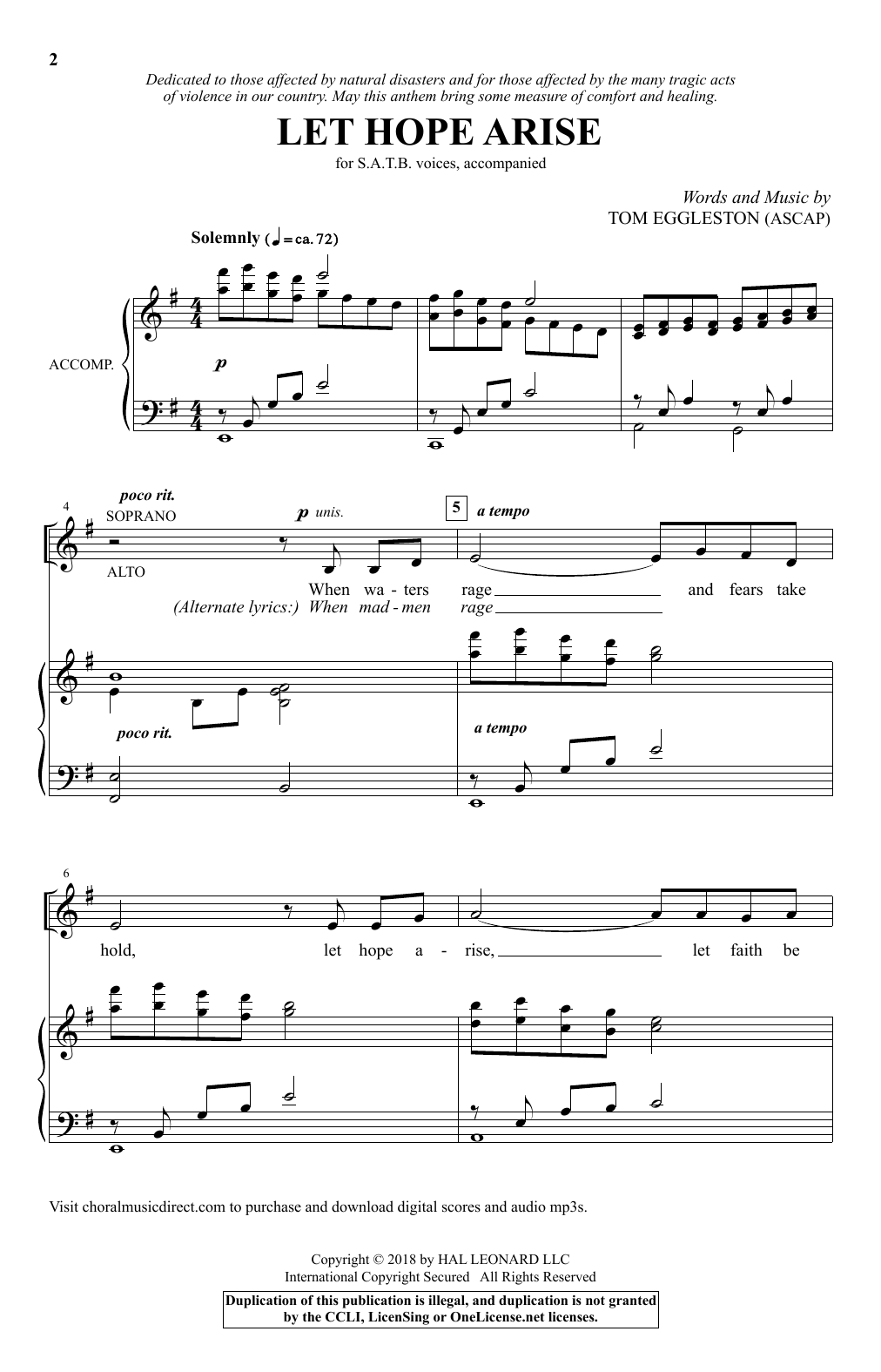 Let Hope Arise (SATB Choir)