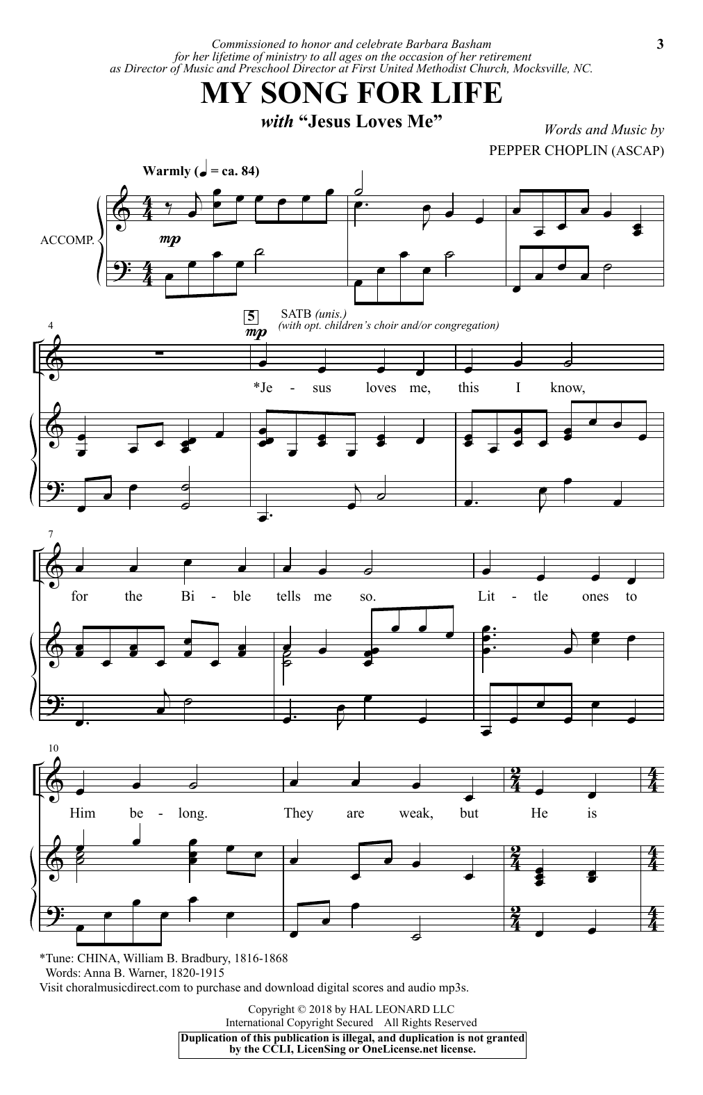 """My Song For Life (With """"Jesus Loves Me"""") (SATB Choir)"""