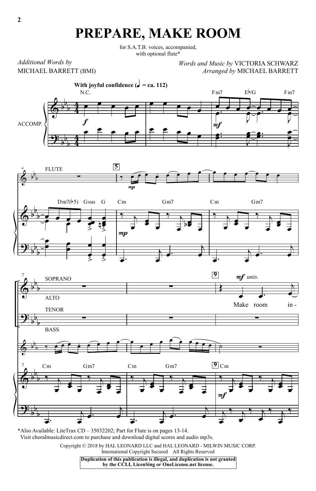 Prepare, Make Room - SATB W/ FLUTE by Victoria Schwarz